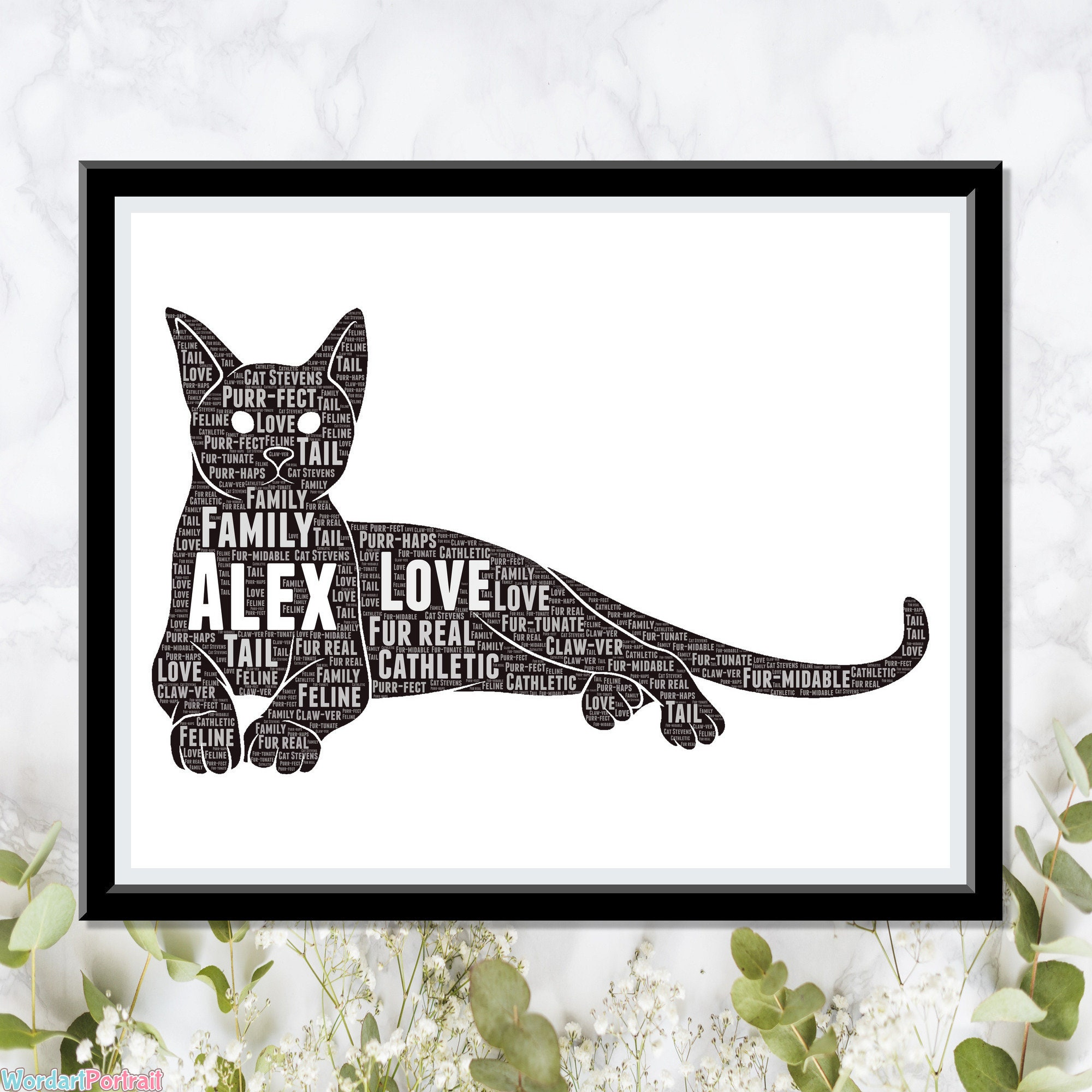 Personalized Cat Owner Lovers Gifts - Cat Word Art Wall Room Decor Prints - Crazy Cat Meow Lady Gift Pets Mum Mom Dad Owner Print Gifts