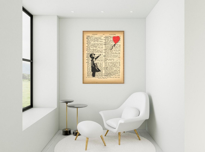 Banksy Wall Art - Dictionary Art - Girl loses a heart shaped balloon - Banksy Print Vintage Wall Decor