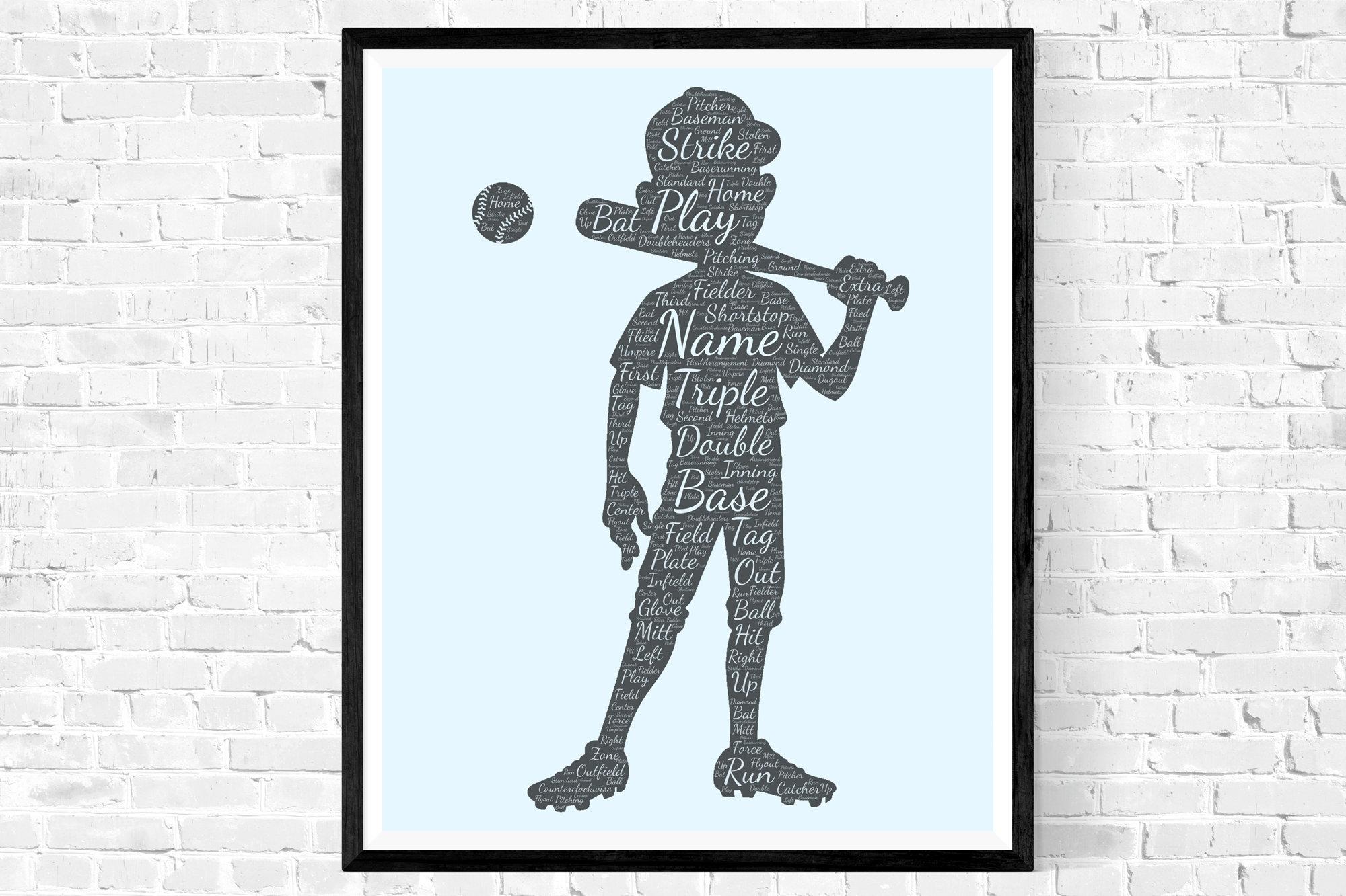 Baseball Wall Decor Print - Batsman Gifts - Gifts for him -  Dad- Uncle Brother Husband - Word Cloud Wall Art Prints - Personalised