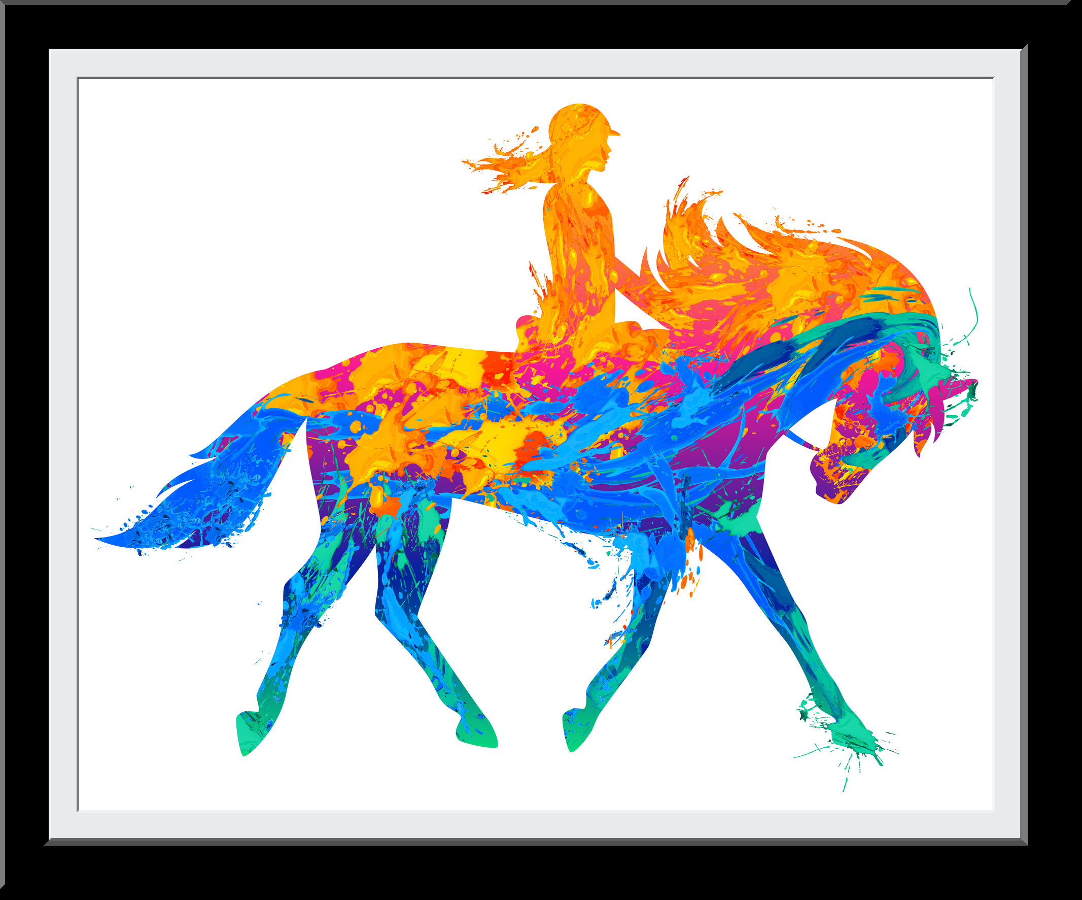 Horse Gift - Water Color painting for Horse Rider - Fire and Water brush Wall Art - Equestrian Gifts Horse Lover - Wall Decor Art
