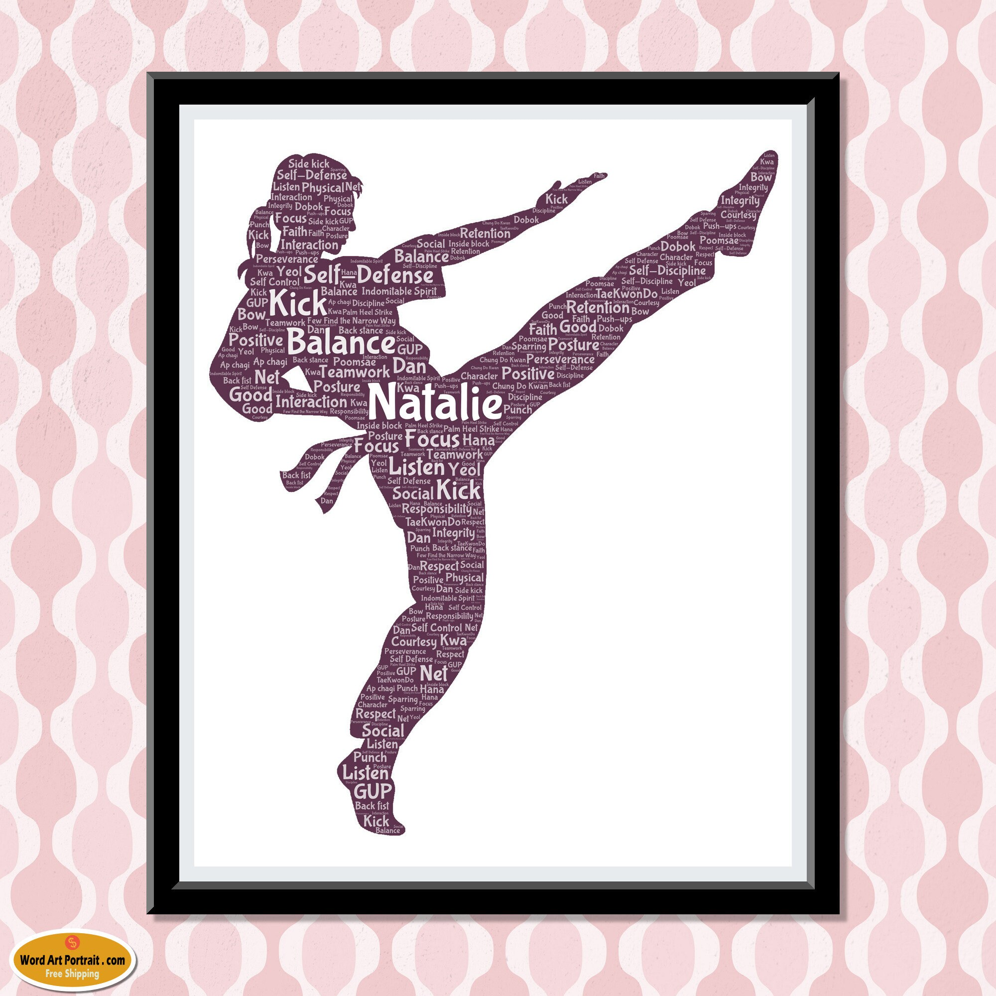 Martial Art Personalized Word Art - Karate Print- Kung Fu Girl gift - Kick Word Cloud Typography - Gift for Her - Custom Word Art Portrait