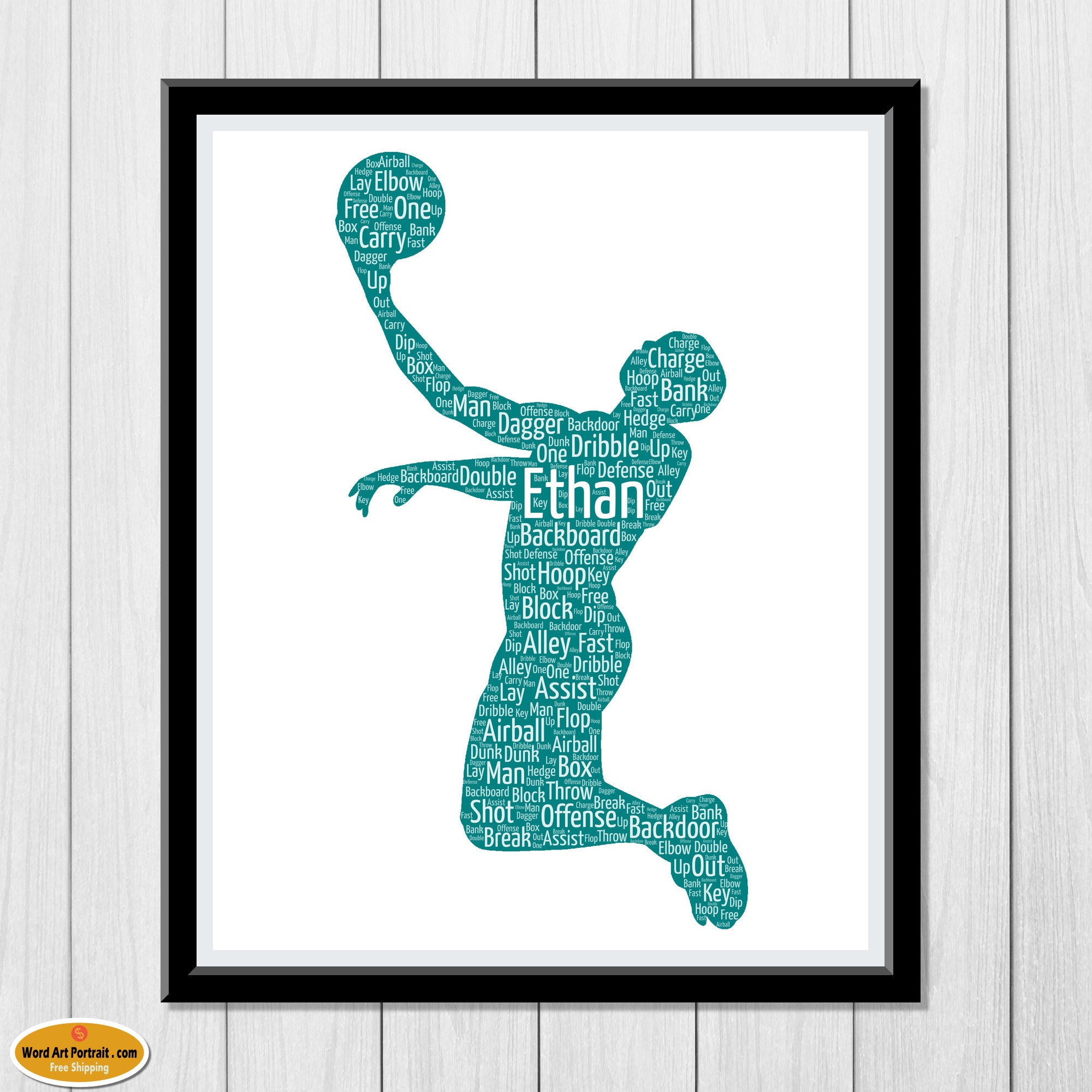 Basket ball Personalized gift for men - basketball Wall Art Decor - basketball gifts - For Dad- Son- Brother- Him