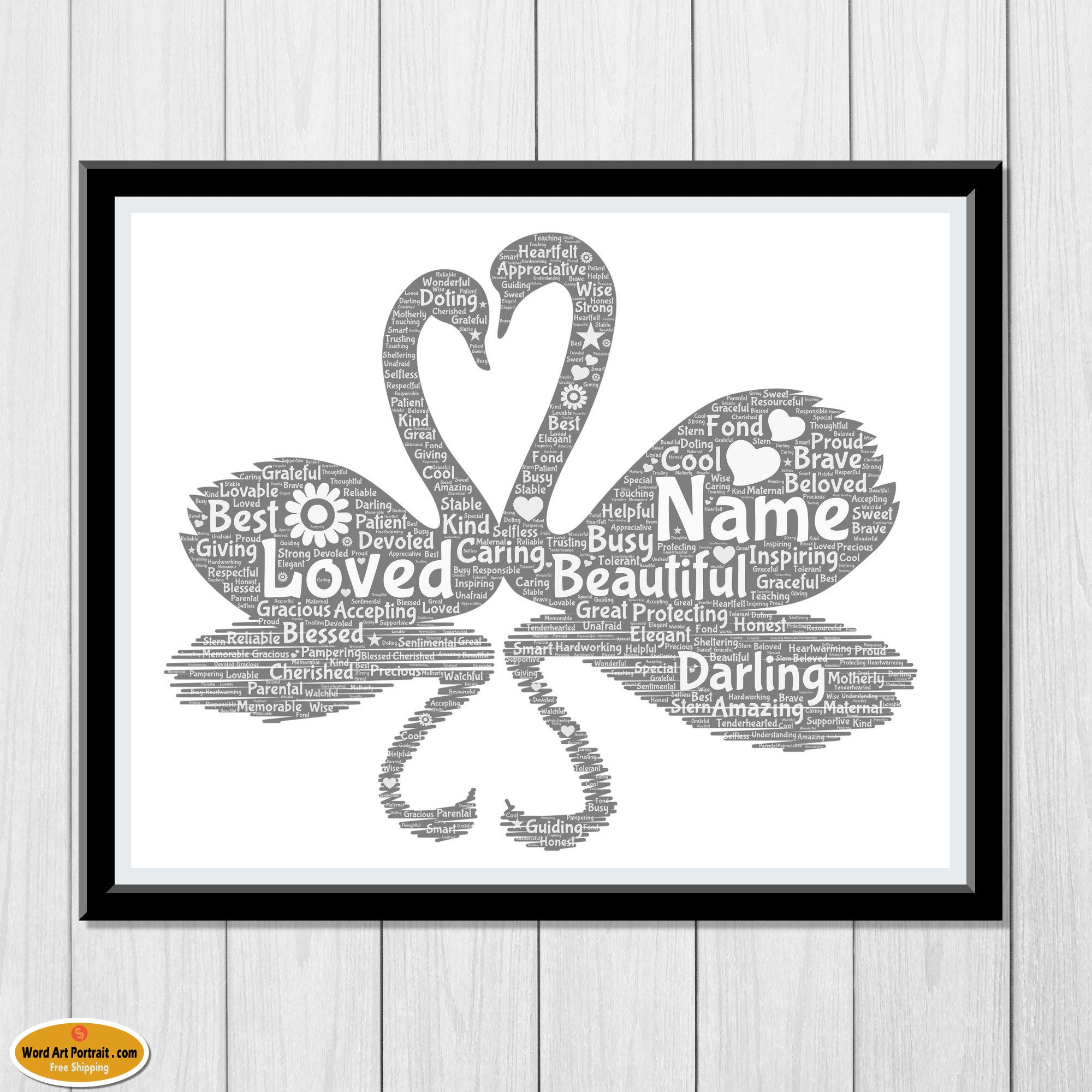 Mothers Day Gift - Wall Art Print for Mom - Custom Wall Decor for Mommy and Baby - Swans Personalized