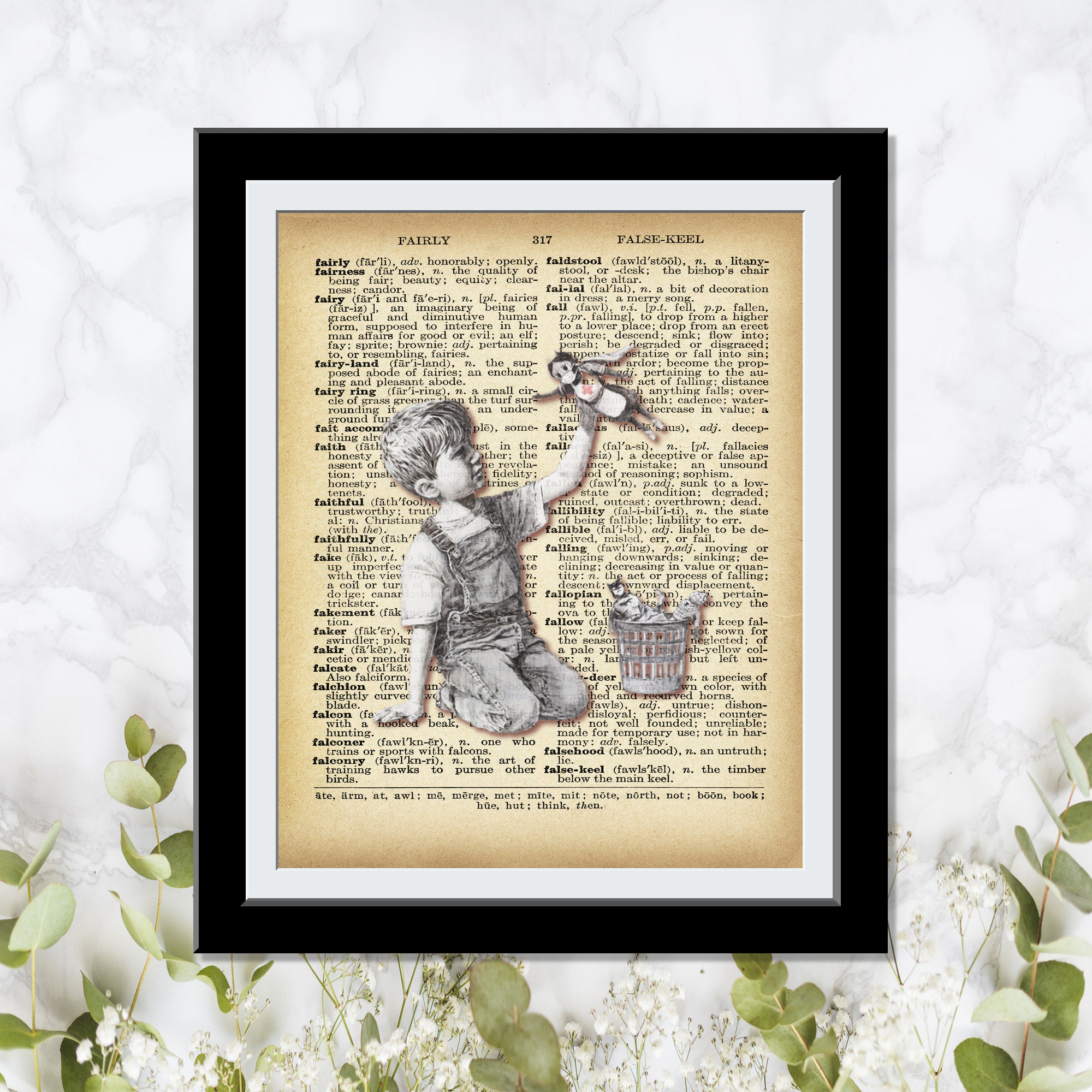 Medical Super Hero - Banksy Wall Art- Dictionary Art Banksy Print -Angel showering love Red hearts boy playing with toy Vintage Wall Decor