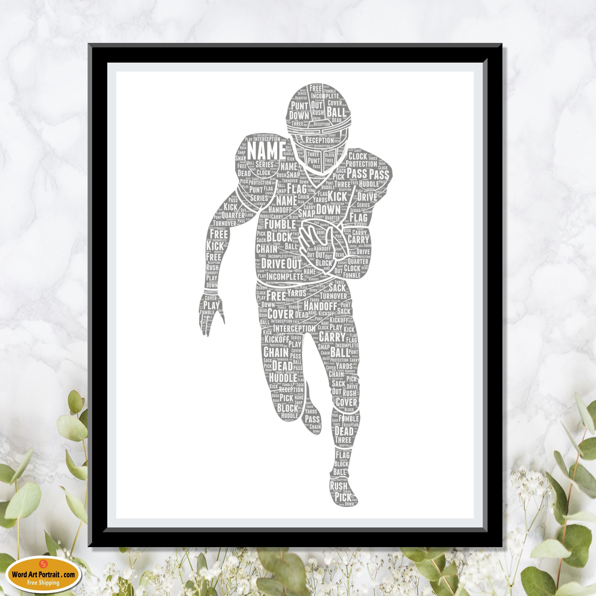 Personalized American Football Wall Decor Art - NFL Gift For Son- Dad- Uncle Brother Husband - Word Wall Art Room Prints - Personalised