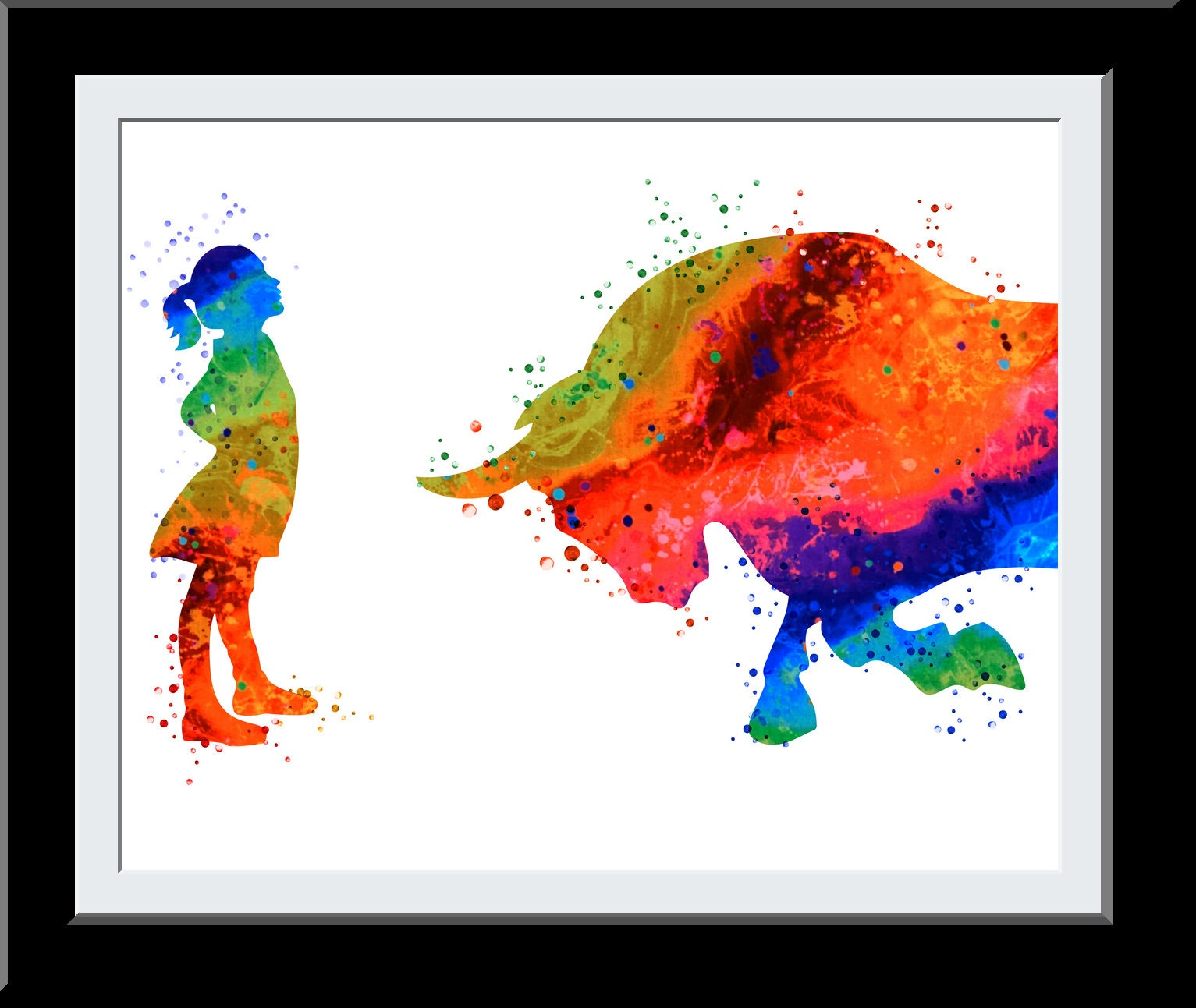 Fearless Girl Watercolor Print - Female Brave Woman Gift- Feminist gift - Business Woman Wall Decor Charging Bull