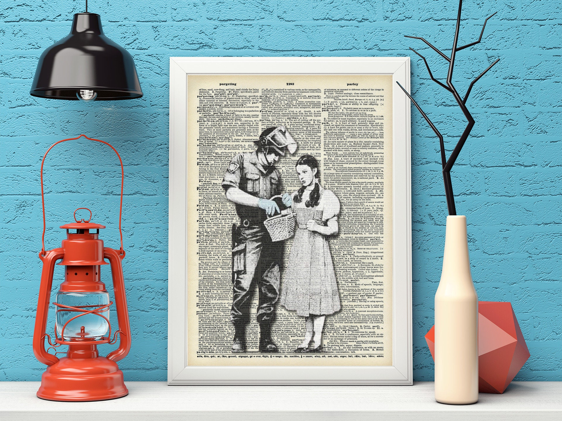 Alice being searched by Police - Banksy Wall Art- Dictionary Art Banksy Print -Angel showering love Red hearts Vintage Wall Decor