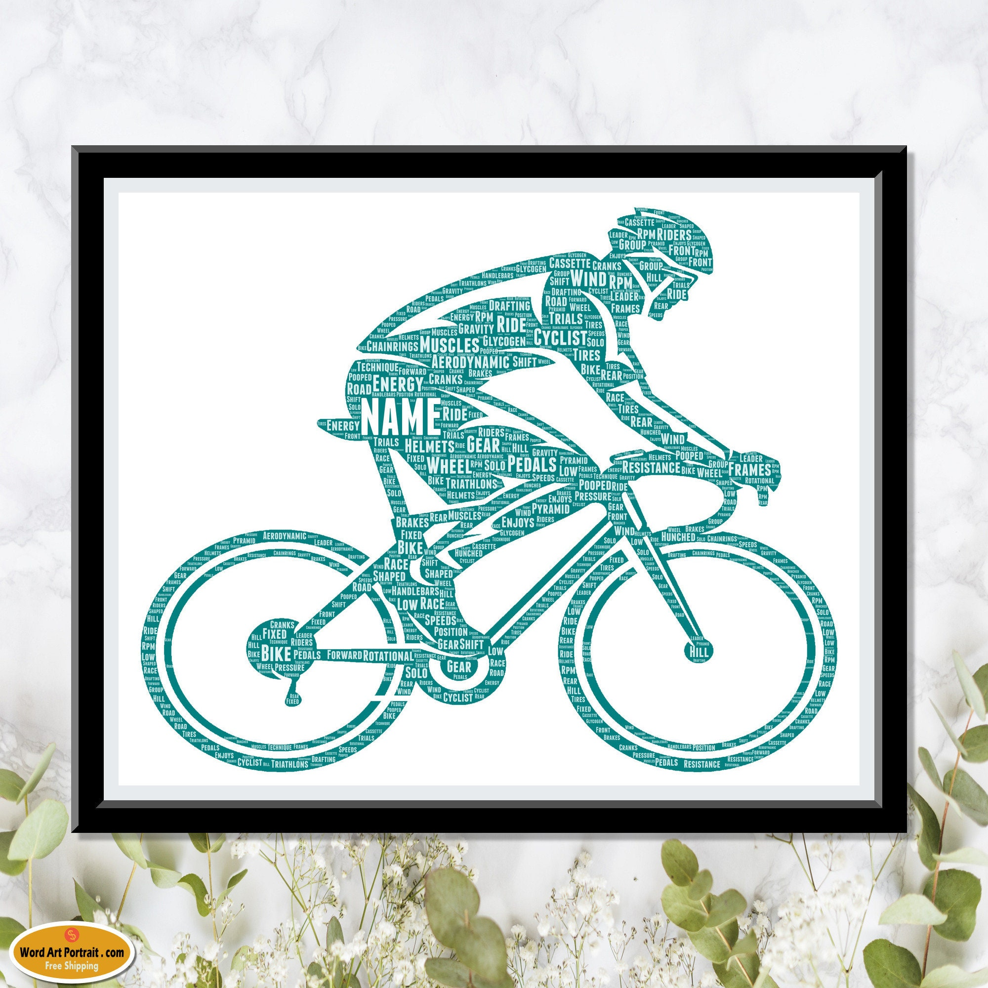 Cycle Gift for Him - Dad Son Boss Brother - Husband Boyfriend Cycling - Personalised Gift for Cyclists - Road Bicycle Gifts Word Art Print Wall