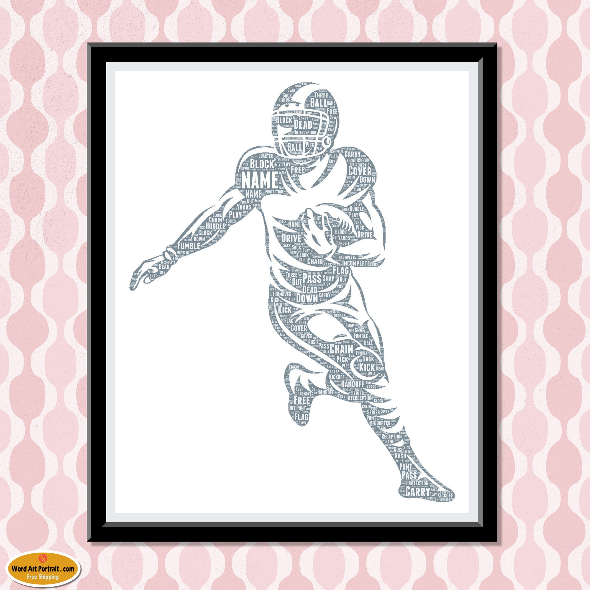 Personalized Football gift - Football Wall Art Decor - Football Gift For Son -- Dad- Uncle Brother Husband - Word Wall Art Room Prints