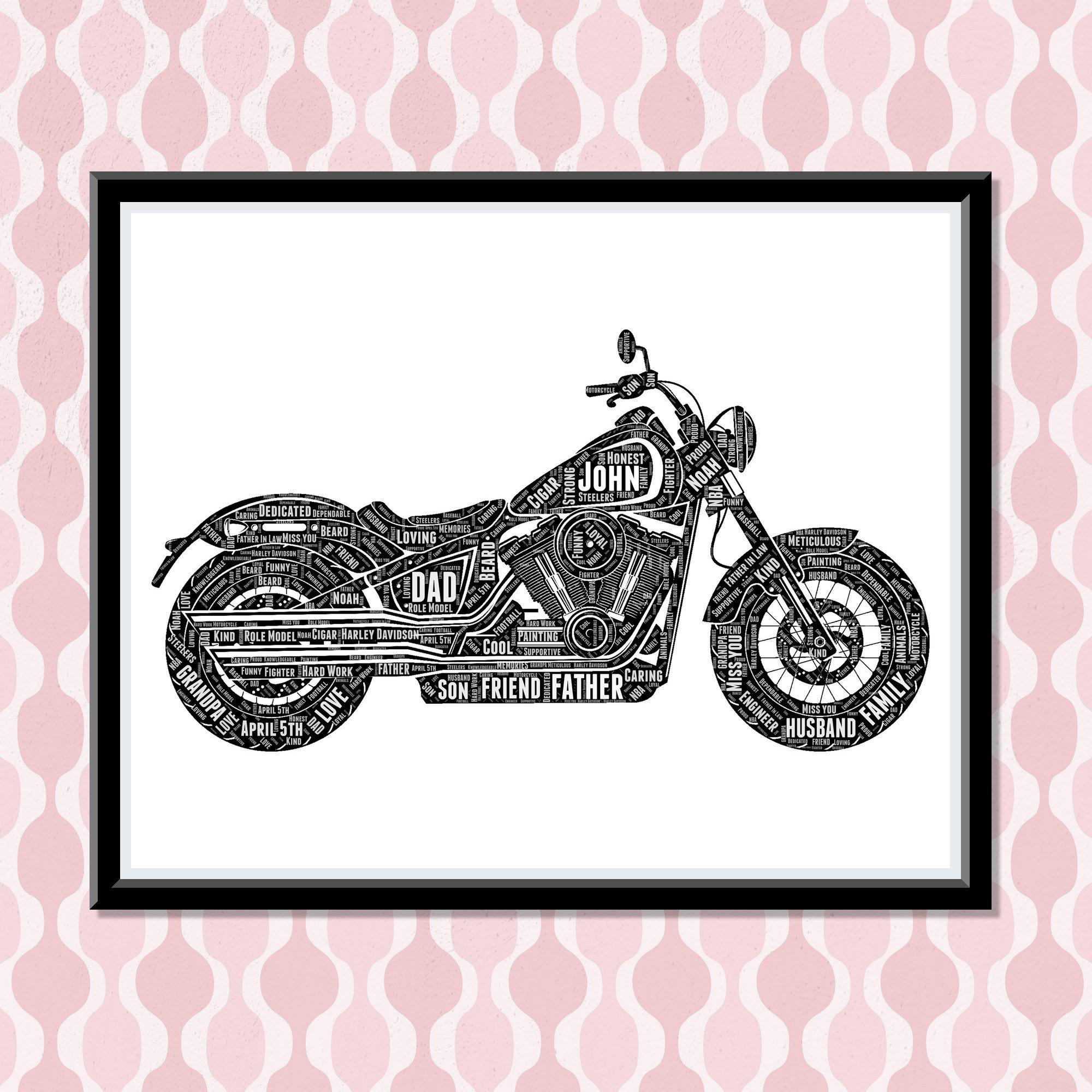 Harley Davidson Personalize Gift- Motorcycle Biker Wall Art Print- Dad Gifts For Him - Motorbike Rider Racer Honda Yamaha Club Ride Wordle