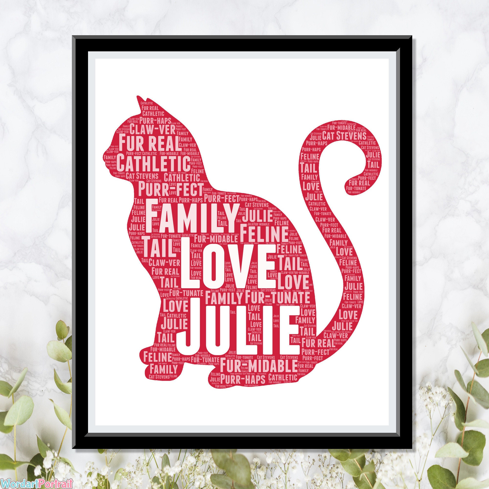 Personalized Cat Gifts- Cute Cat Lovers Gifts- Wordle Art Wall Room Decor - Prints Crazy Cat Meow Lady Gift Pets Mum Mom Dad Owner Print Gifts