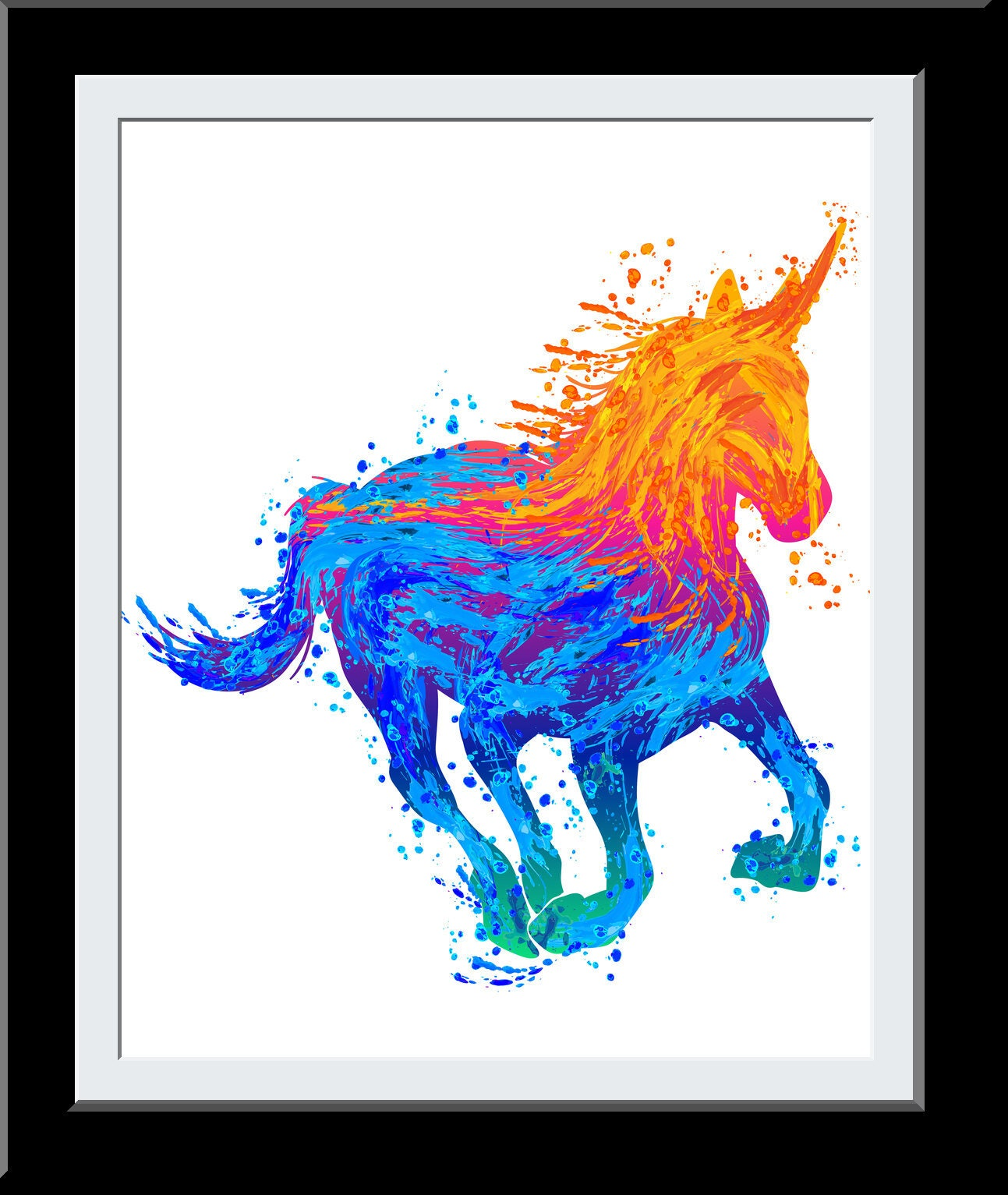 Water Color Unicorn Gift - Unicorn WaterColor Print - Fire+Water Elemental Digital Painting - Gift for Girls - Nursery Deor Wall Art