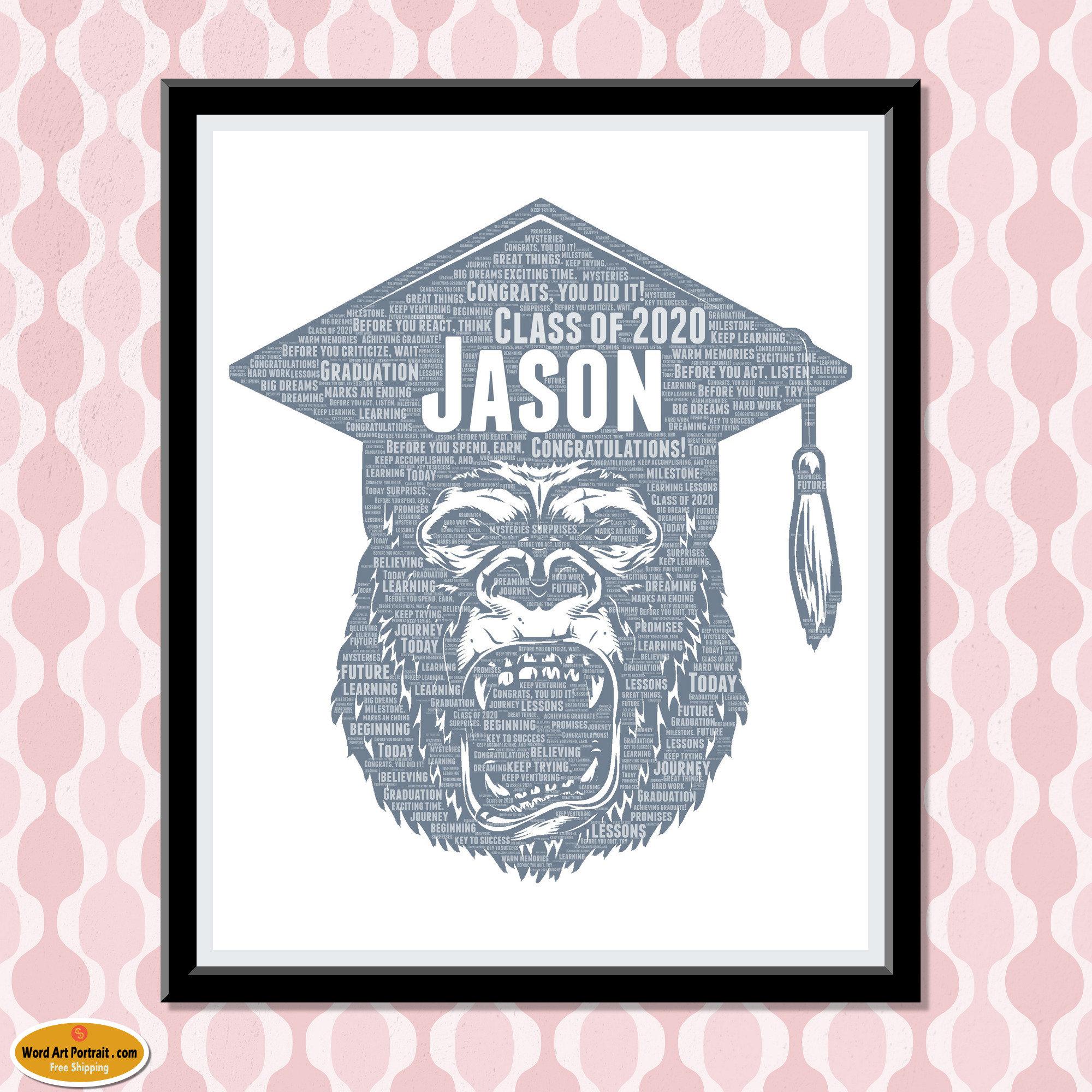 Class of 2020 Personalized Graduation Gifts Keepsake gifts for him Custom Print Wall Art College University Graduate Gift Word Art