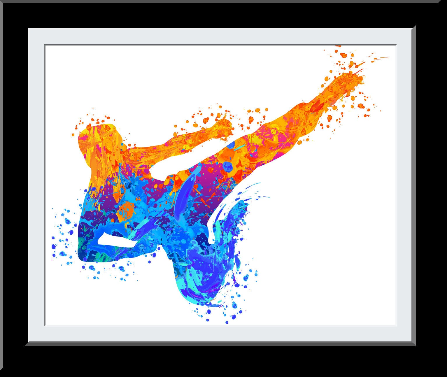 Water Color Karate Martial Art Print Dojo Man Fire+Water Elemental Gift for Him Studio Decor Wall Art