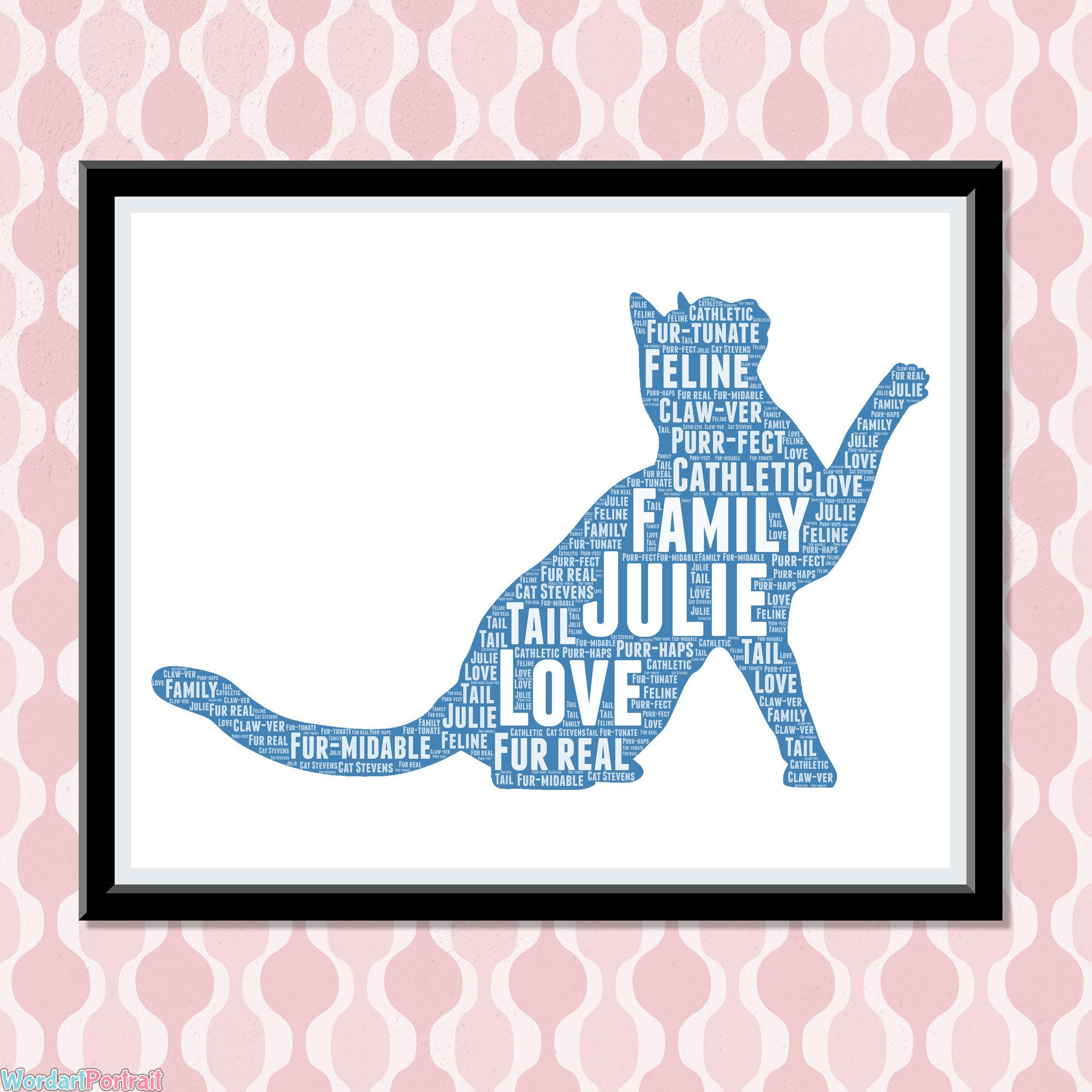 Personalized Cat Lovers Gifts- Word Cloud Art Wall Decor - Crazy Cat Meow Lady Gift - Pets Mum Mom Dad Owner Print Gifts