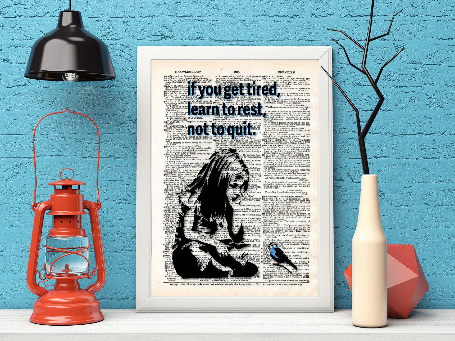 Banksy Wall Art - Dictionary Art - Girl and blue bird - If you get tired- rest but don't quit - Banksy Print Vintage Wall Decor