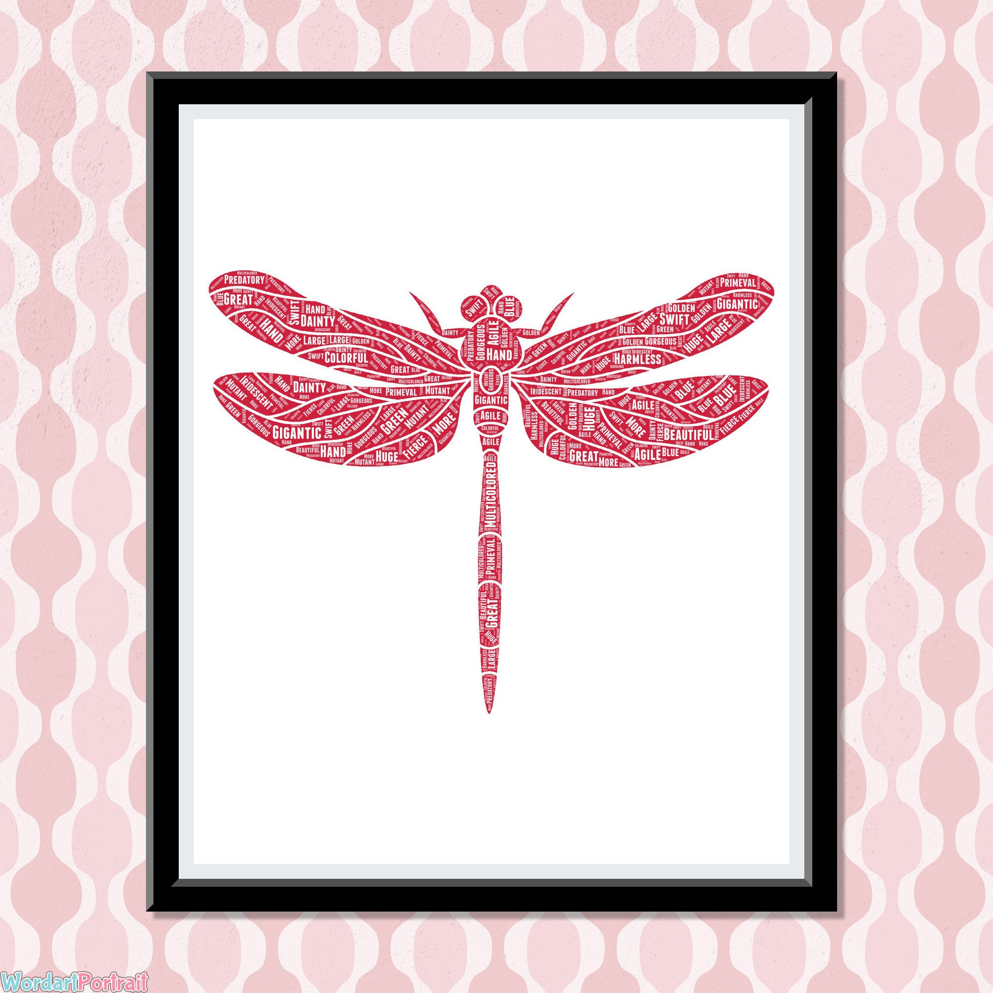 Dragonfly Gifts for Women - Personalize Dragonfly Art Print Gift- Dragon Fly Word Art-  Wall Decor dragonfly ideas For Her presents
