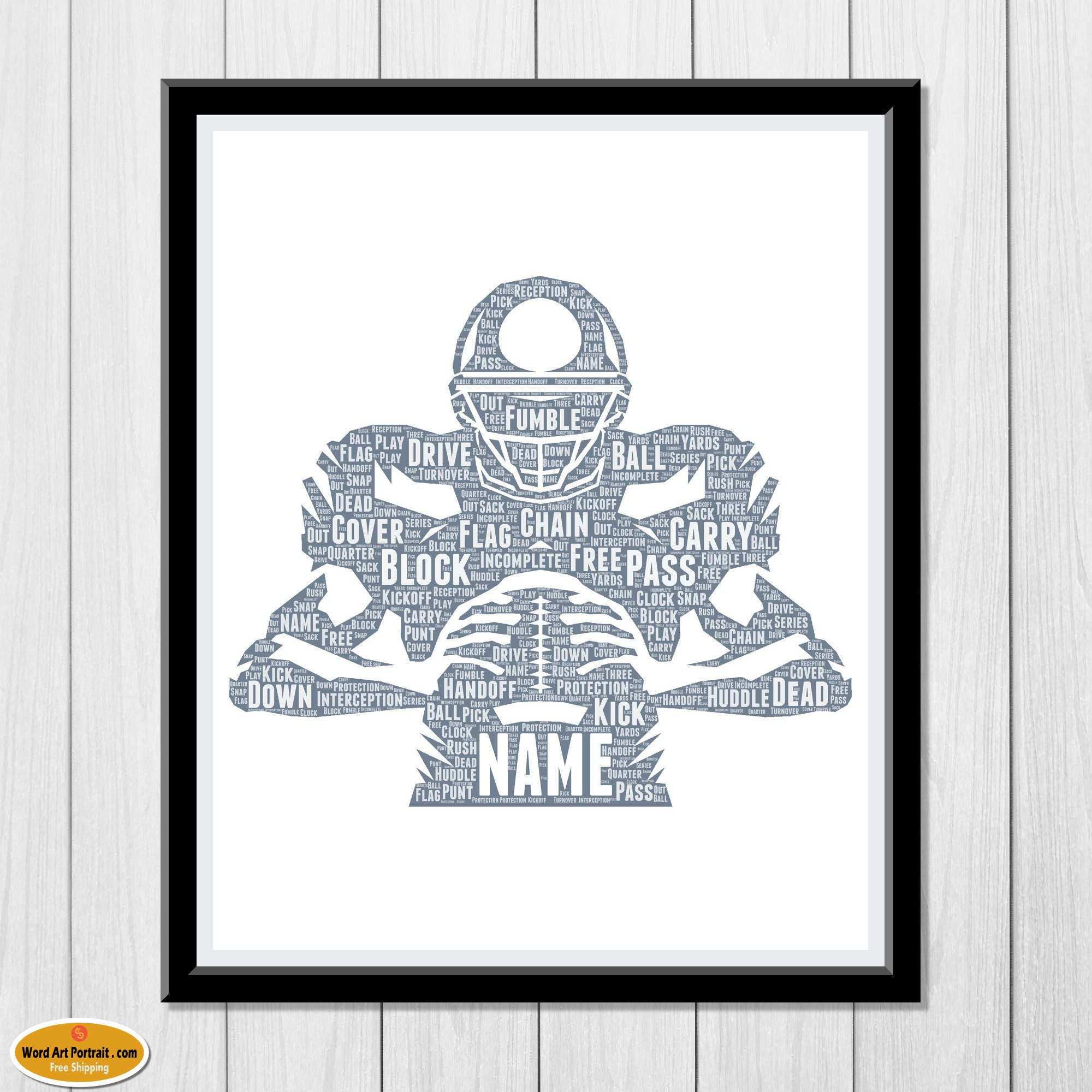 Football Wall Art - Personalized Gift - For Son- Dad- Uncle Brother Husband - Football Word Wall Art Room Prints Foot Ball