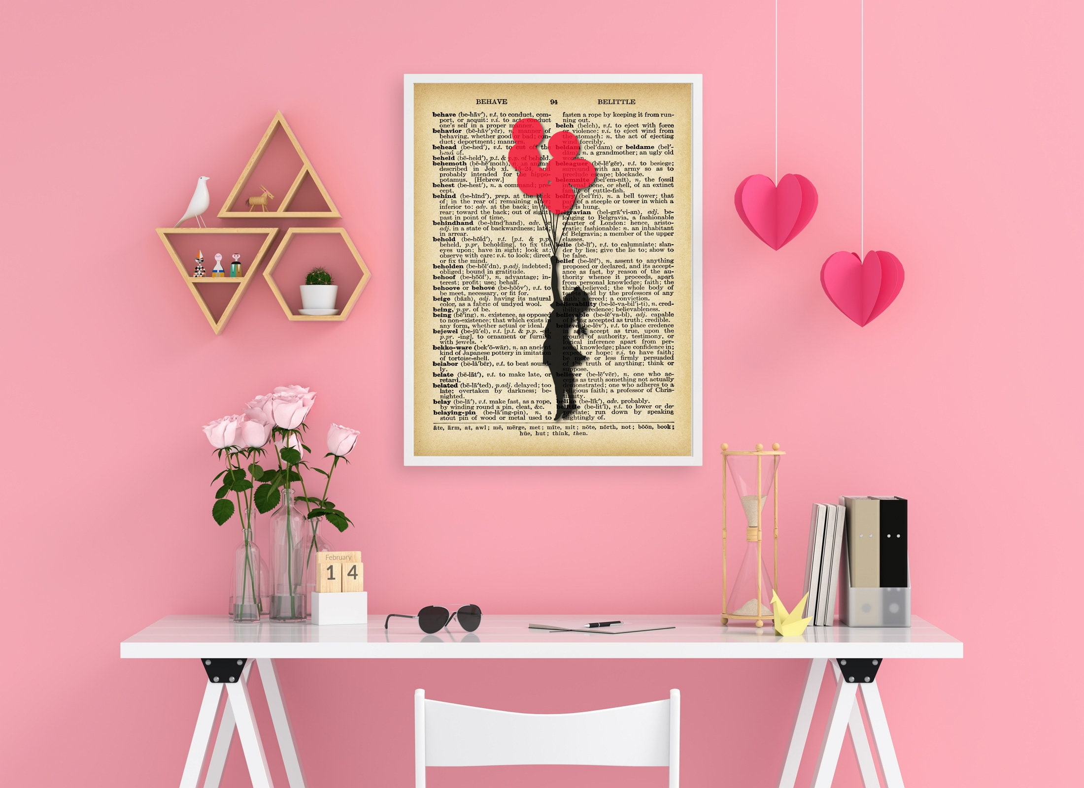 Banksy Wall Art - Girl flying away with Balloons - Dictionary Art Banksy Print-  Angel showering love Red hearts Vintage Wall Decor