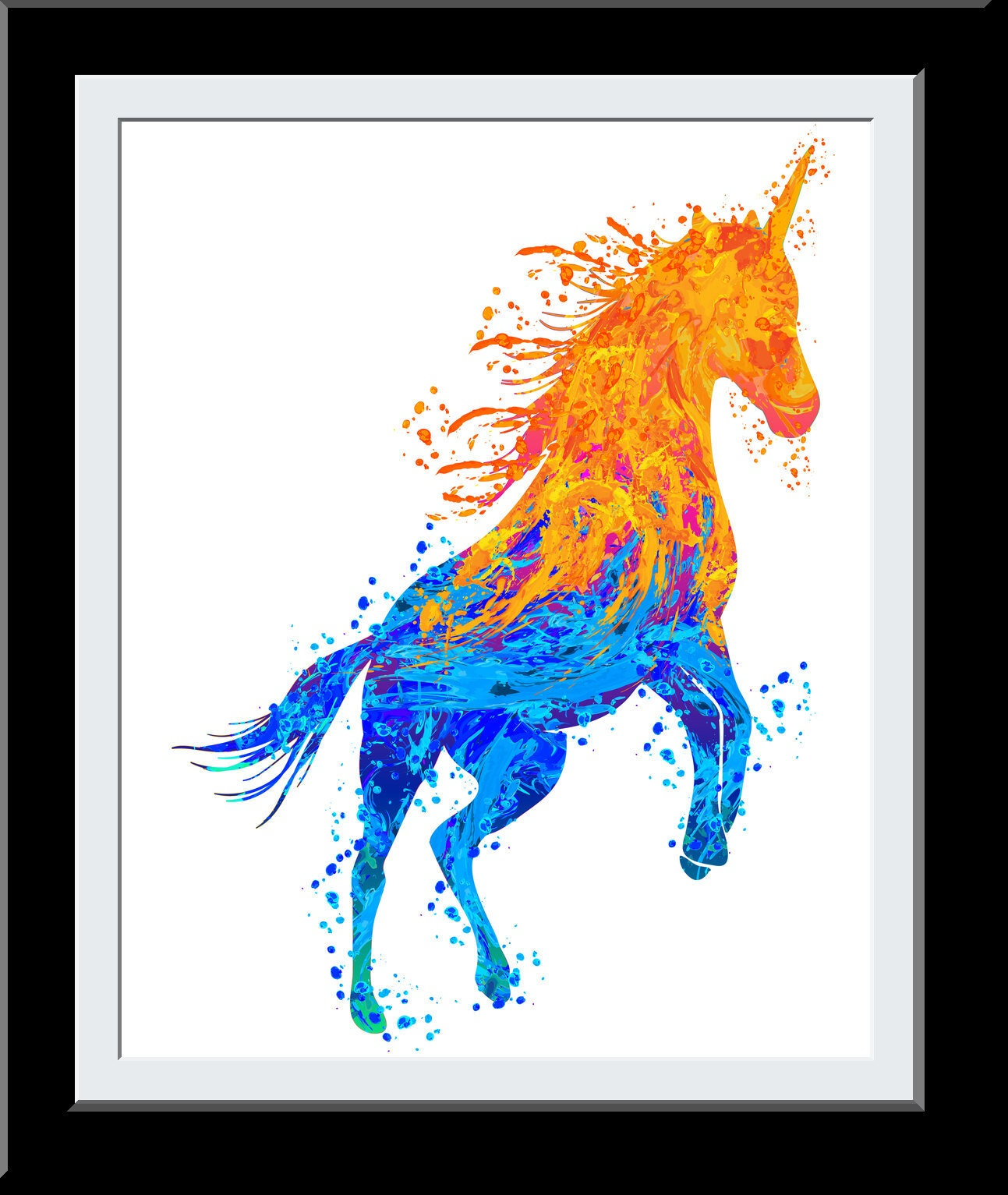 Unicorn Gift - Unicorn WaterColor Print - Fire+Water Elemental Digital Painting - Gift for Girls - Nursery Deor Wall Art