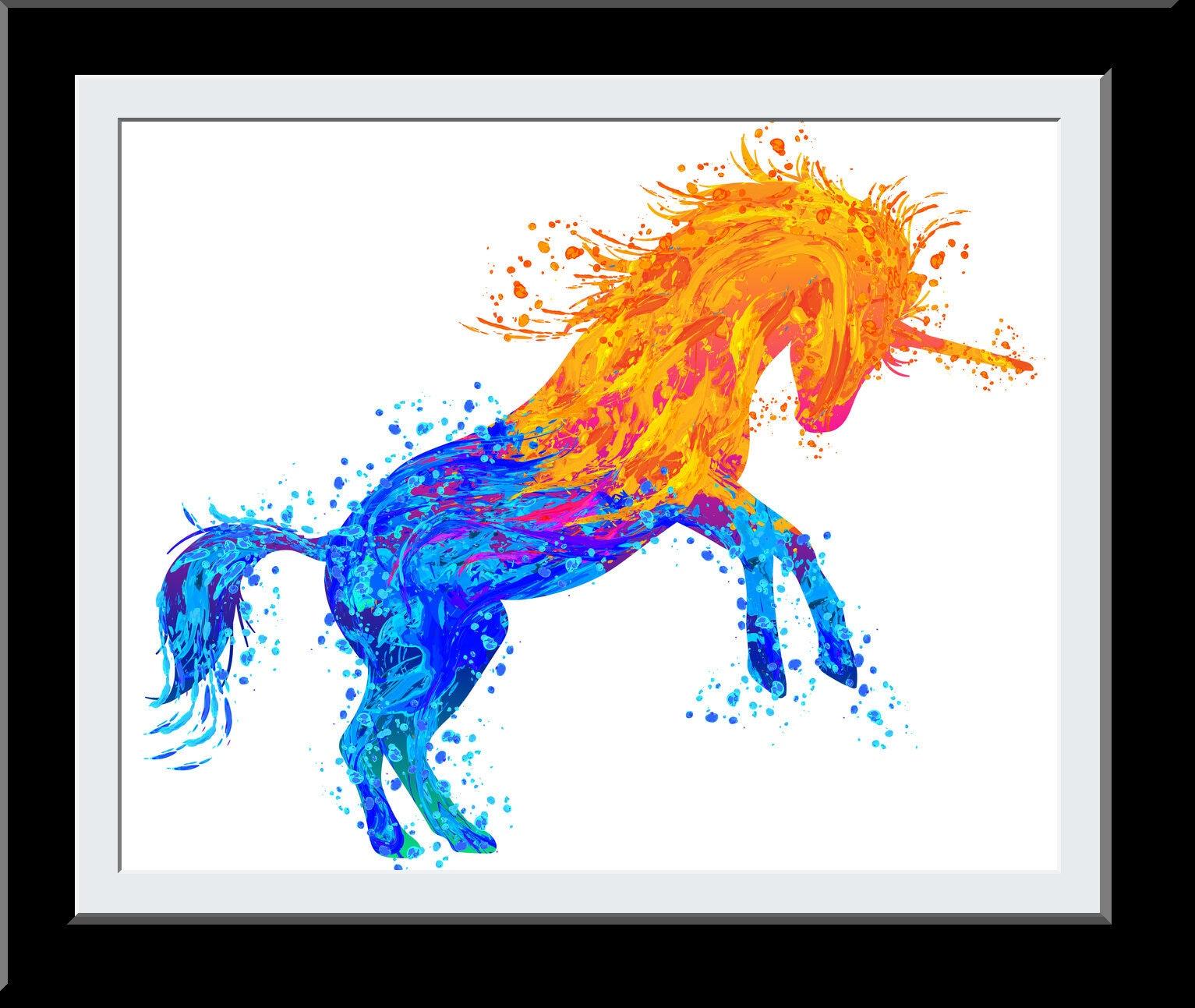 Water Color Beautiful Unicorn Gift - Unicorn WaterColor Print - Fire Water Elemental Digital Painting - Gift for Girls - Nursery Wall Art