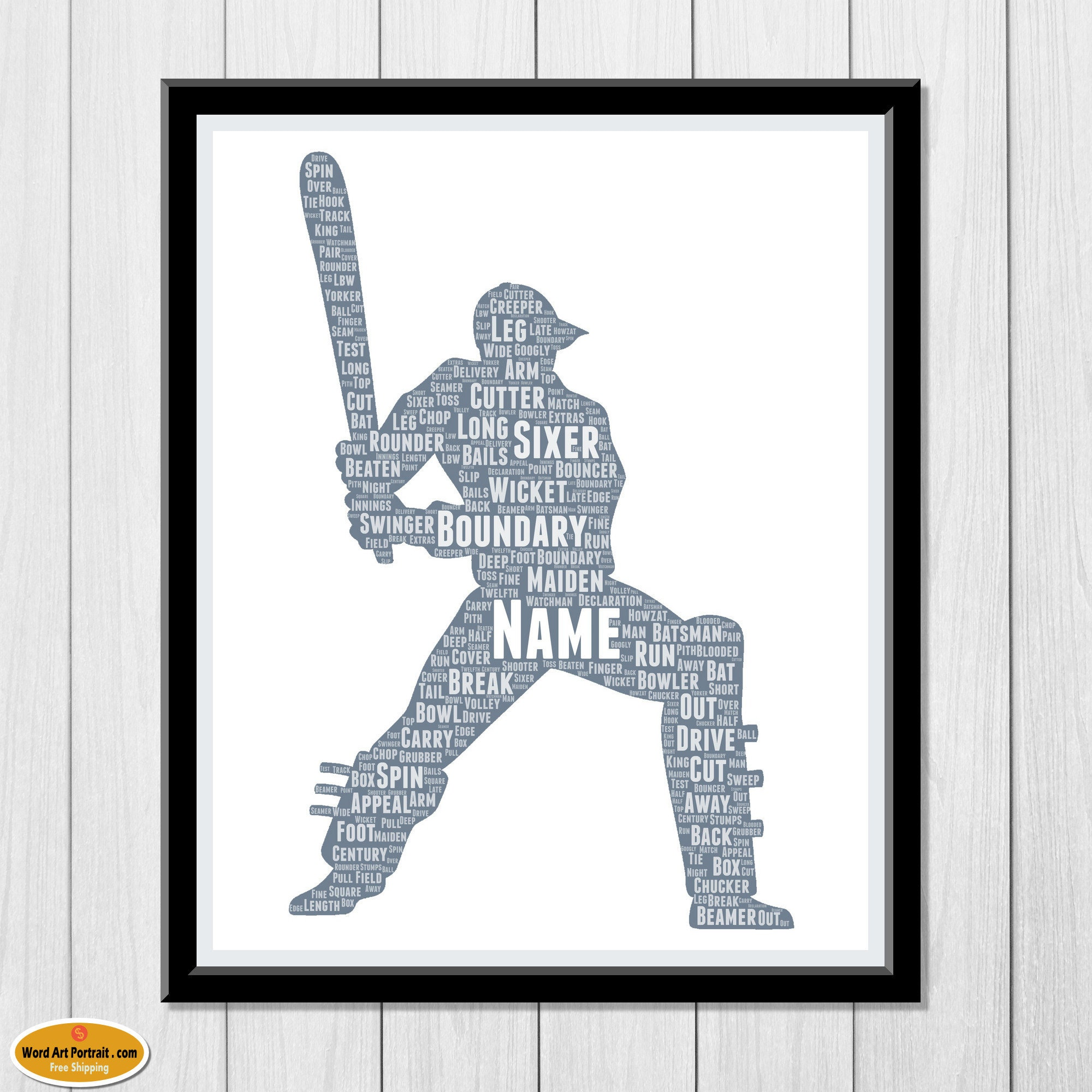 Personalised Cricket Batsman gift- cricket gift for men - Cricketer Wall Art Decor - For Dad- Son- Brother- Him - Custom