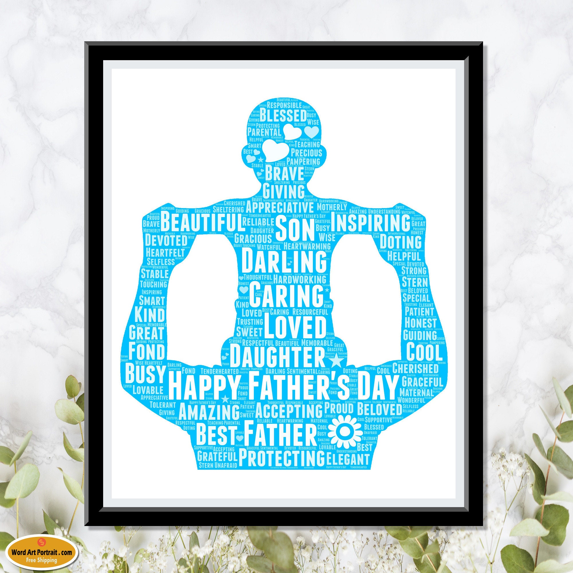 Personalized Happy Fathers Day Gift - Word Cloud Print for Dad - Gift for Dad - Gift for Grandpa - Custom Wall Decor