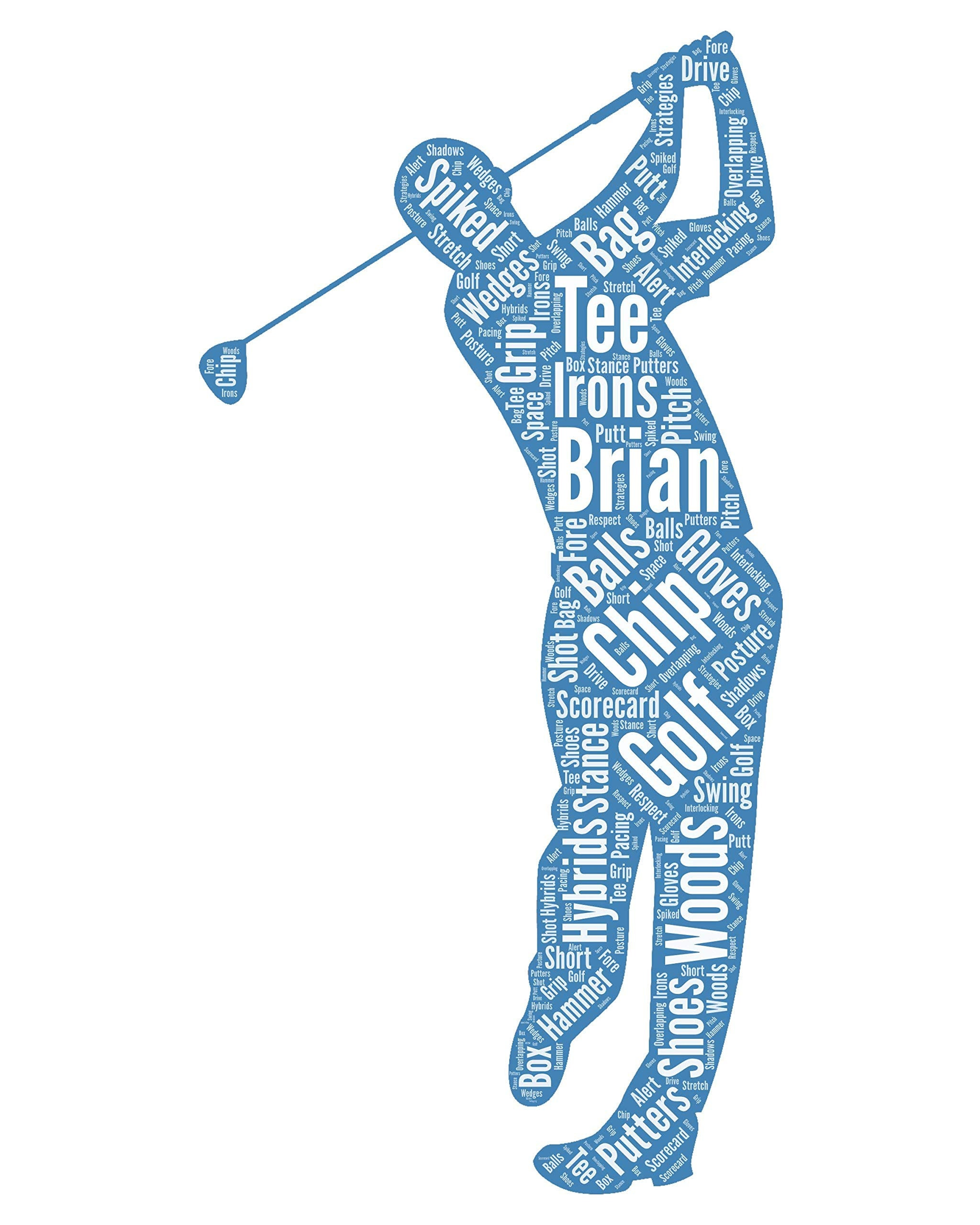 Male golfer Personalized golf gift for men - Golf Wall Art Decor - For Dad- Son- Brother- Him