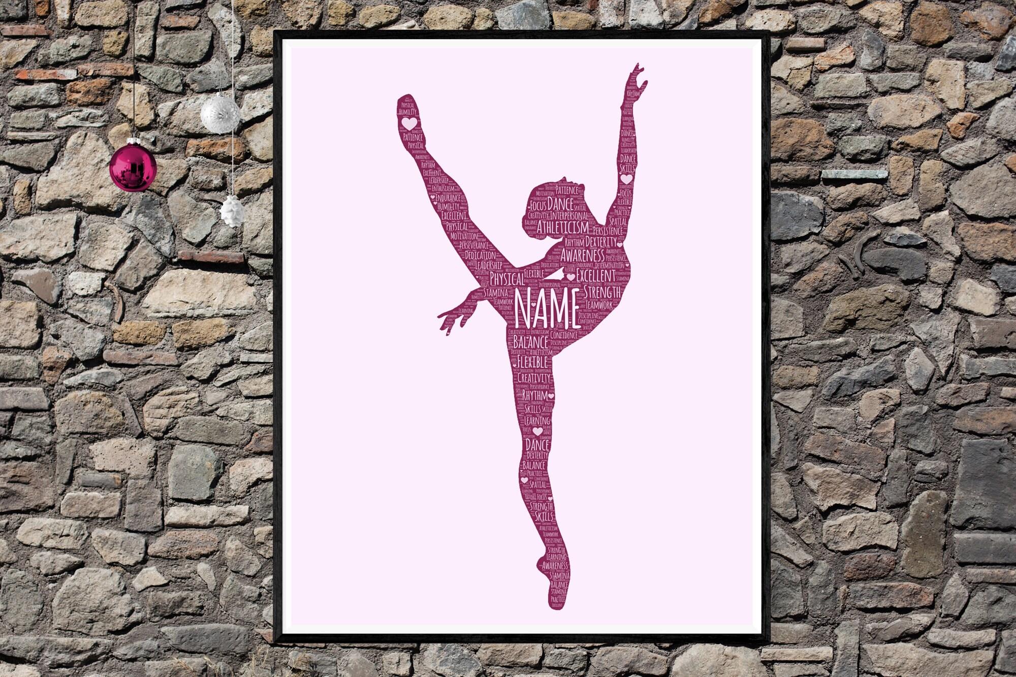 Personalized Ballerina - Ballet Word Art Print - Ballet Dance Girl poster- Word Cloud Typography - Gift for Girl Ballerina - Custom Word Art Portrait