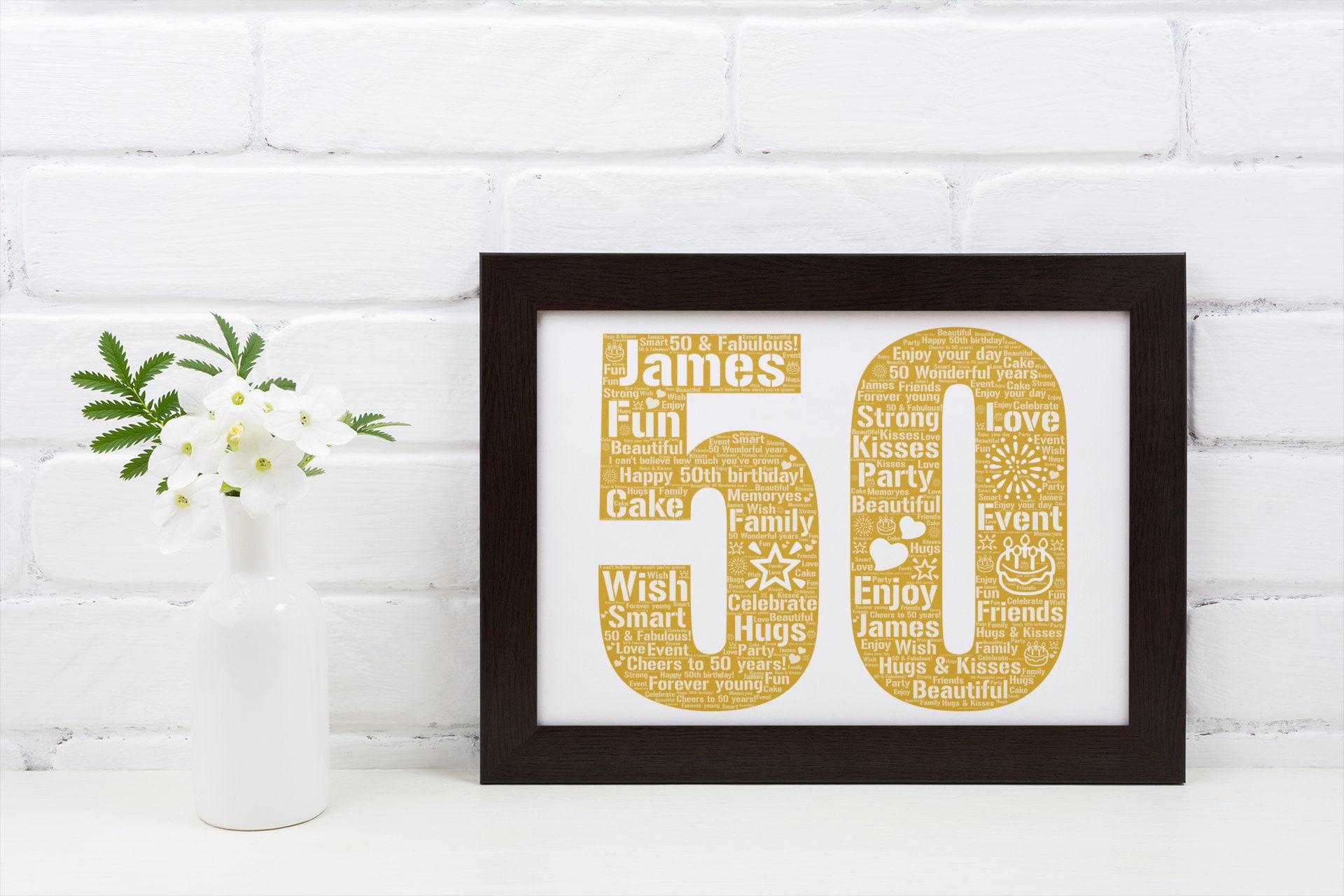 Personalized 50th Birthday- 50th Birthday Gift- 50th Birthday Poster- 50th Birthday Word Art- Custom Birthday Print