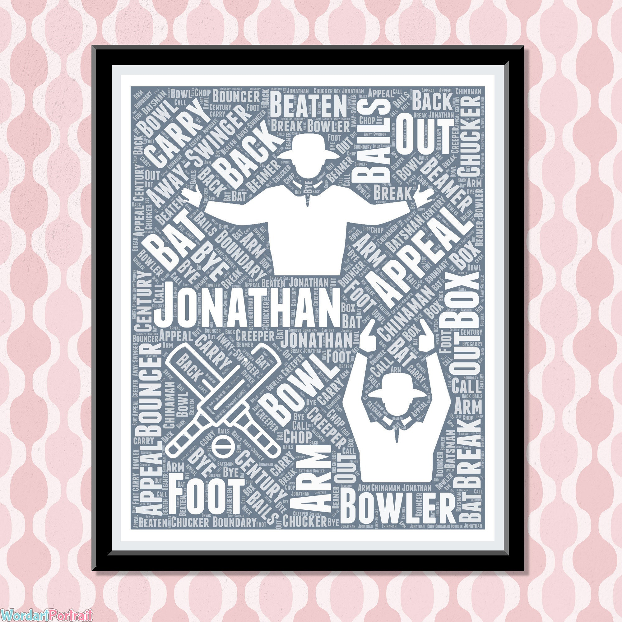 Personalised Cricket Umpire Word Art Gift - Umpiring Wall Print For Cricket - Club Player Cricket - Retirement Birthday Dad Brother Husband Gift
