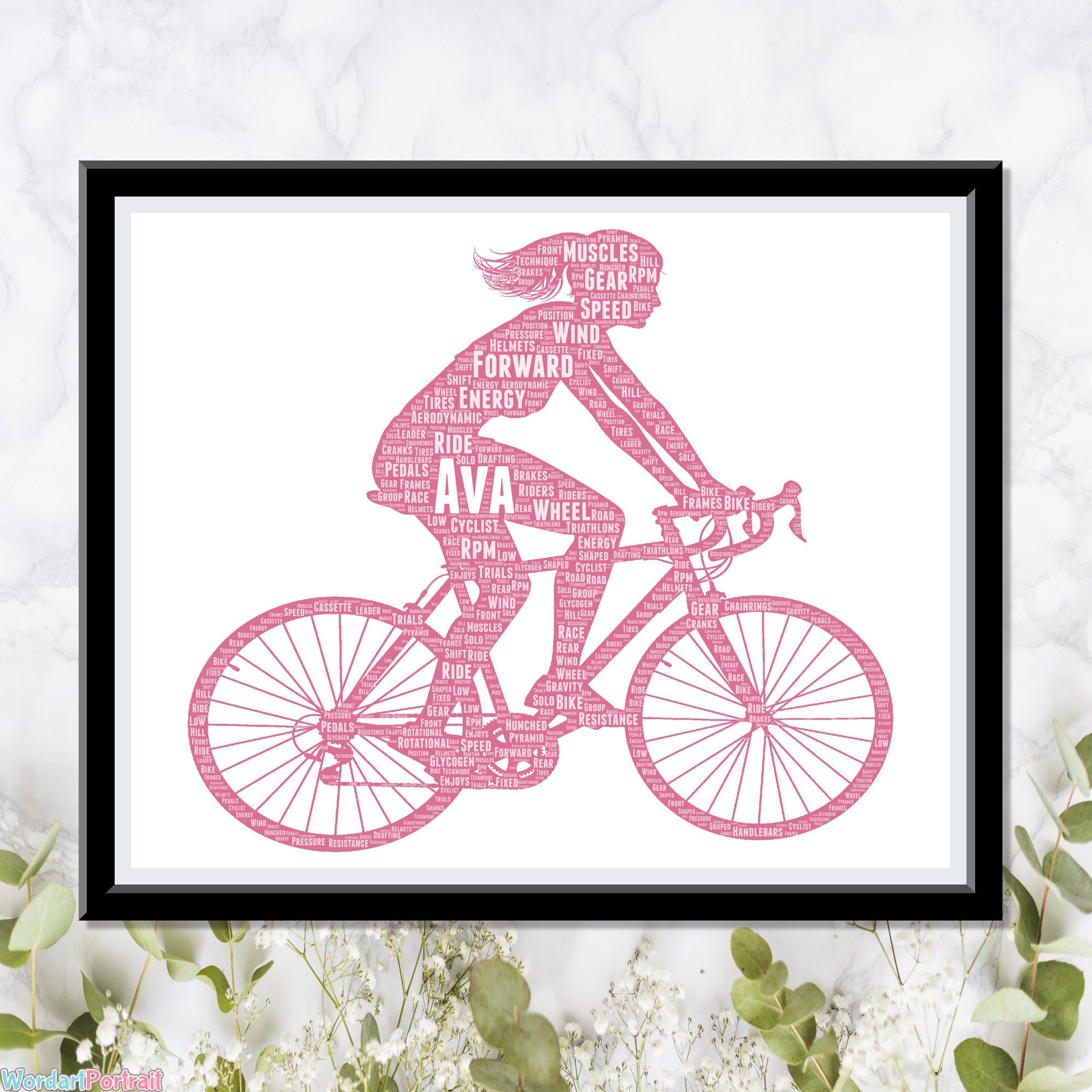 Personalized Gift for Cyclists - Female Cycle Racing - Bicycle Gifts - For Daughter Mom Sister Girlfriend For Her Gifts Wordle Word Cloud