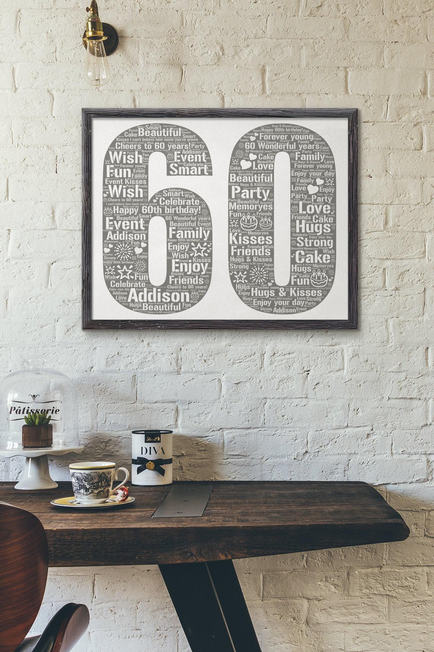 Personalized 60th Birthday- 60th Birthday Gift- 60th Birthday Poster- 60th Birthday Word Art- Custom Birthday Print