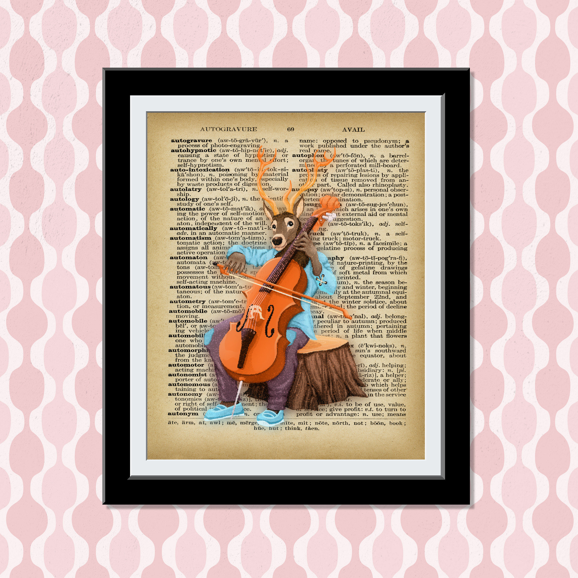 Dictionary Art Print- Deer playing Cello- Cellist Whimsical Dictionary Vintage Print - Music Lover Gift Wall Decor Prints- Set of Prints