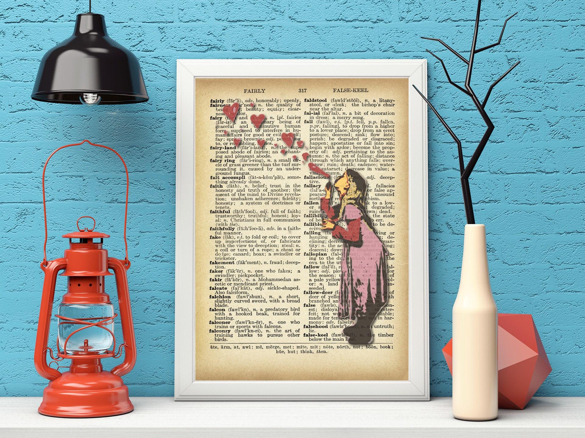 Banksy Wall Art - Dictionary Art - Girl blowing heart shapped bubbles - Banksy Print Vintage Wall Decor