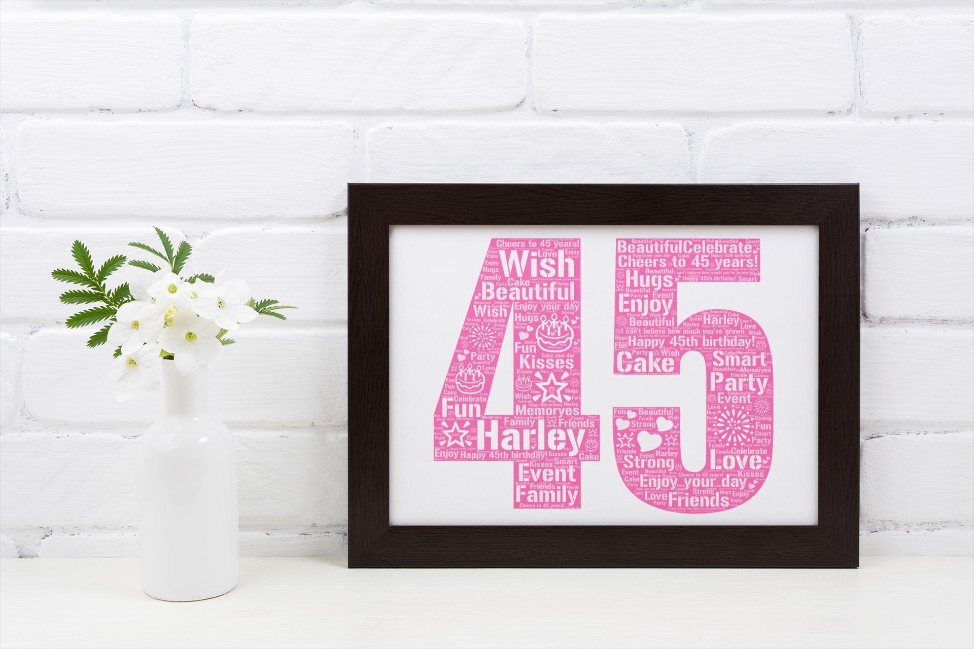 Personalized 45th Birthday- 45th Birthday Gift- 45th Birthday Poster- 45th Birthday Word Art- Custom Birthday Print