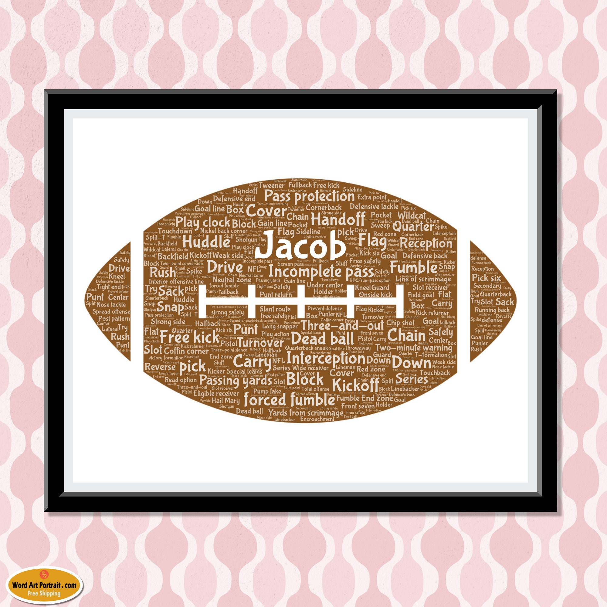 Personalized NFL Football - Wall Art Decor - football Gift For Son - - Dad- Uncle Brother Husband - Word Wall Art Room Prints