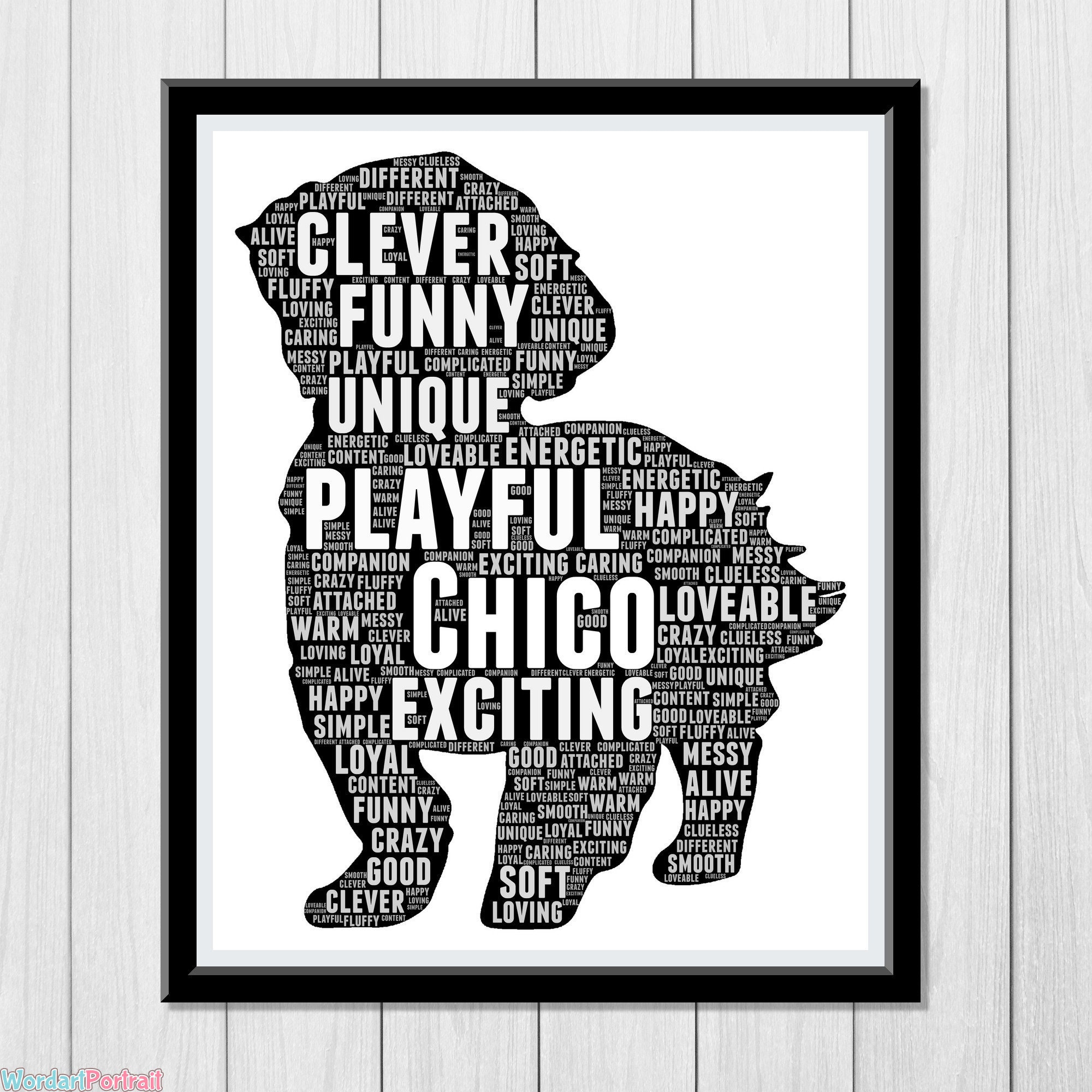 Maltese Dog Personalized Gifts- for dog lovers - Maltese Shih Tzu Gift - Dog picture frames - dog owners Presents Word Cloud Art Wall Print