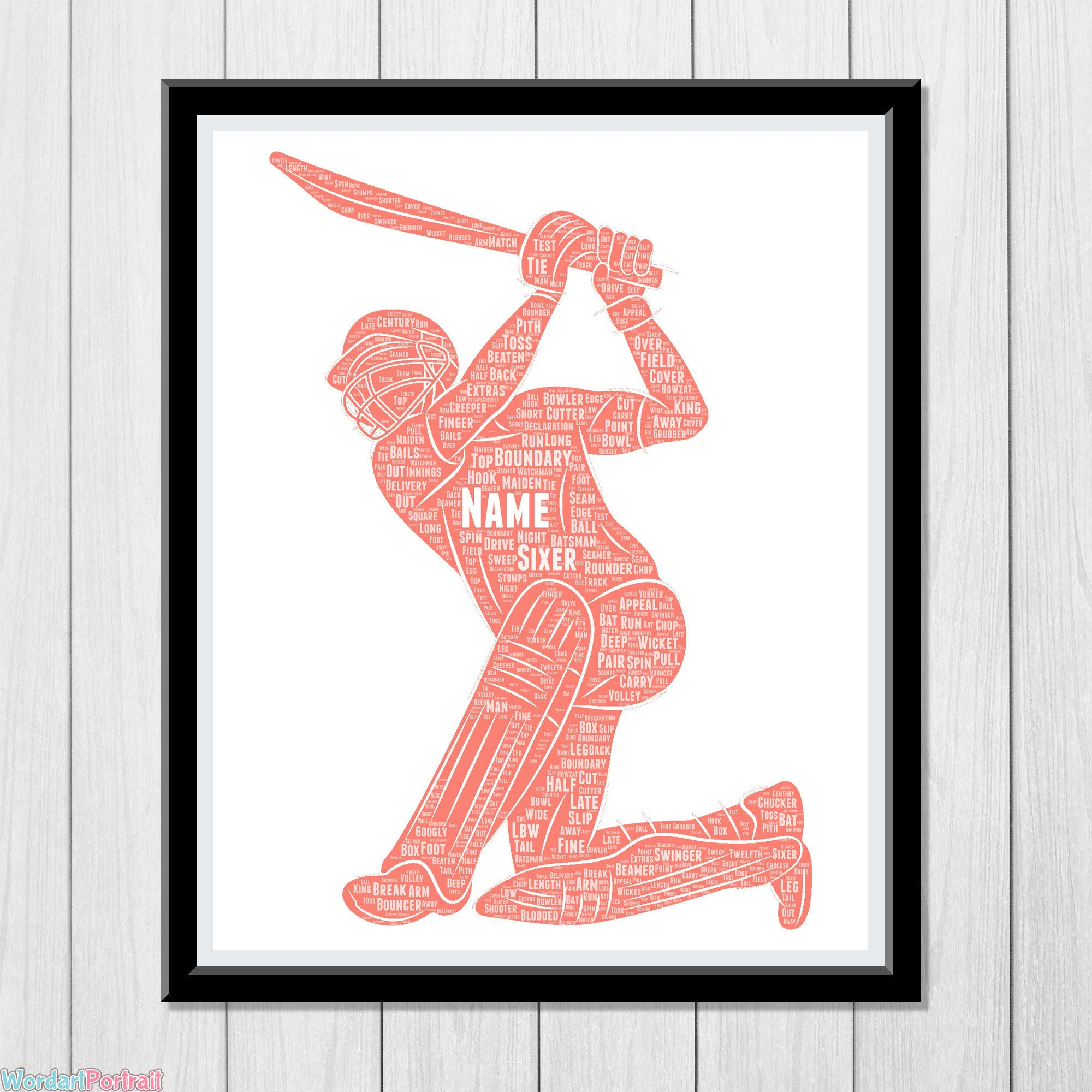Personalised Cricket gift - cricket Word Art Gift - Cricketer Wall Art Print - For Cricket Club Team Player Cricket Birthday Dad Brother Husband Gift Batsman