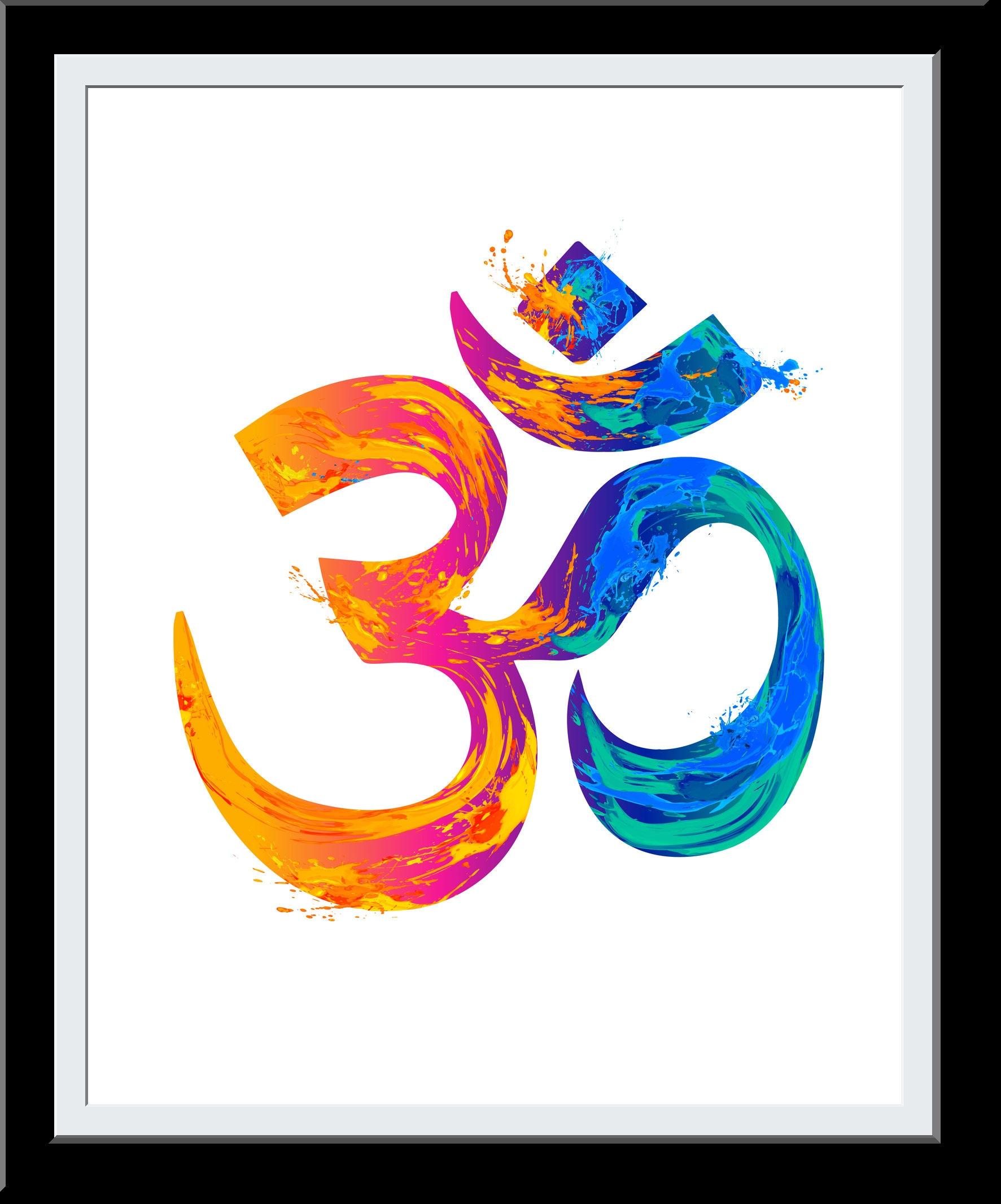 OM Watercolor- Aum Watercolor Print - Yoga Studio Home Decor- Zen Hindu Meditation Aum Wall Art