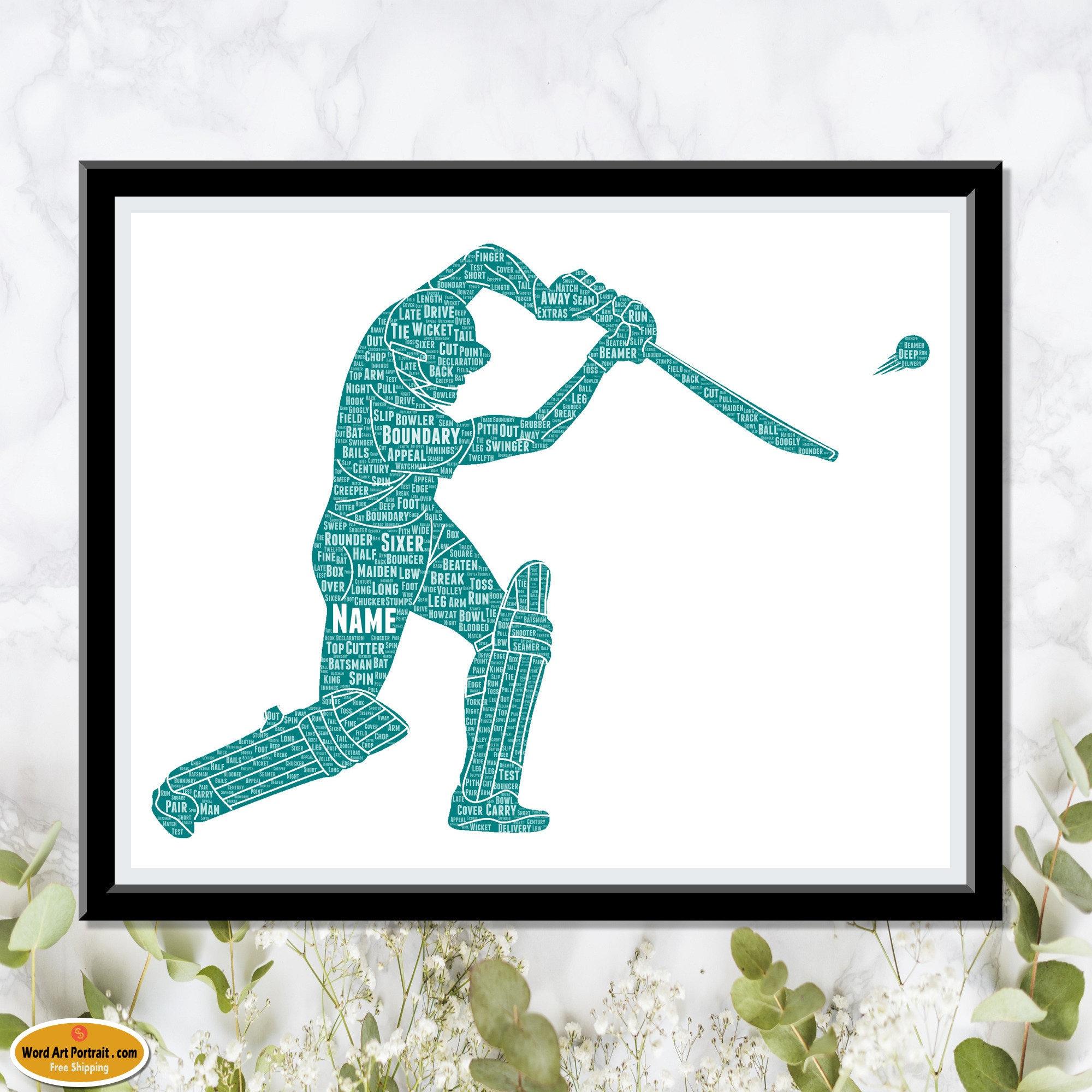 Cricket Word Art - Batsman gift for men - Cricketer Wall Art - Decor For Dad Son Brother Him Custom Wordle Word Art Cricket Lover