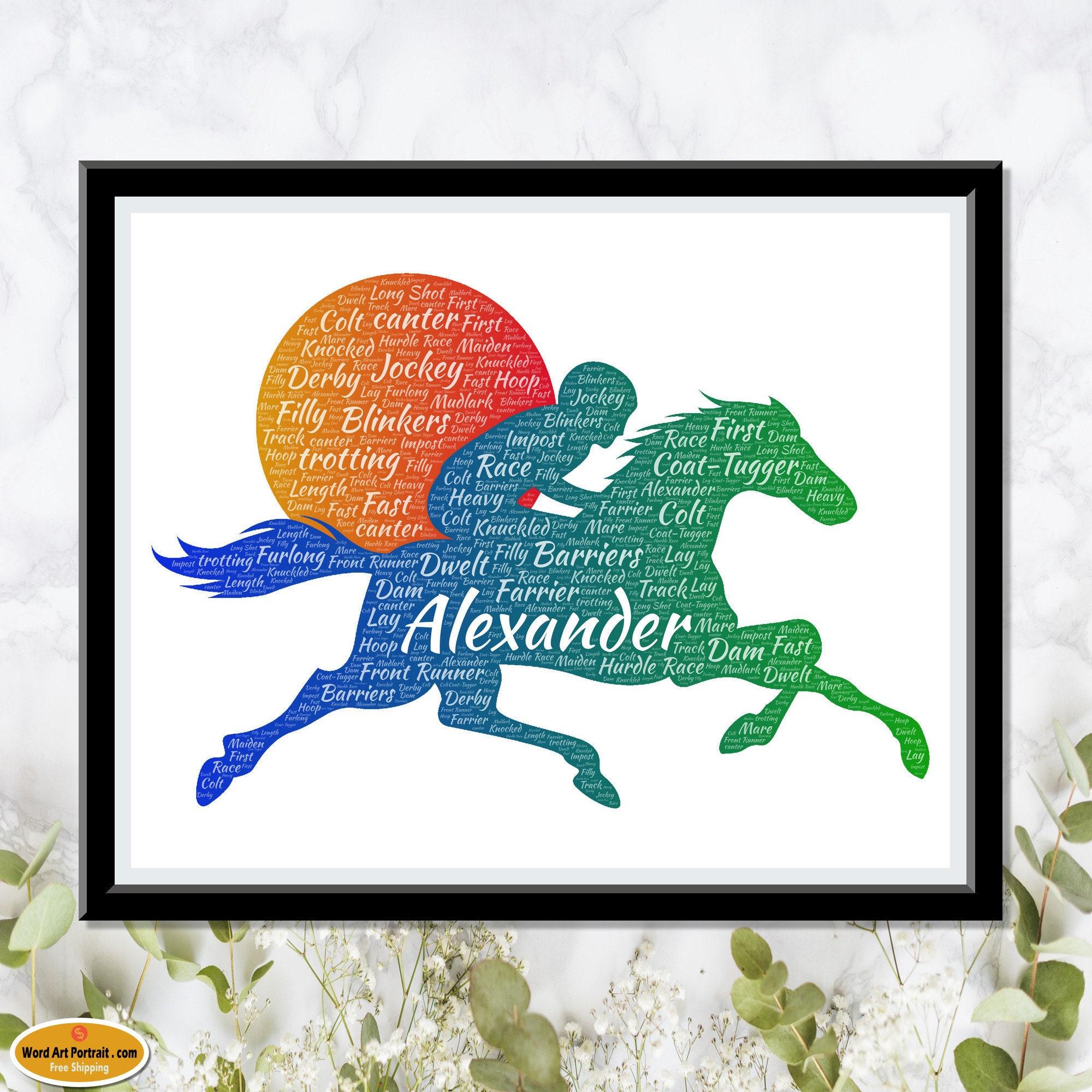 Personalized Horse racing art - Gift for Jockey- Horse racing gift- Brother- Father- Son - Man horse racing prints wall Decor - Word Art