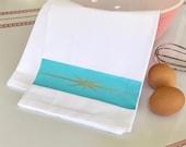 Pyrex Starburst Flour Sack Tea Towel Dish Cloth Heavy 100 Pure Ringspun Cotton Vintage Kitchen
