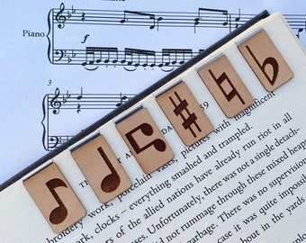 Musical Bookmarks - Music Note Bookmarks - Great Gift - Crotchet - Flat - Sharp - Natural - Beam - Music is Life - Music Fan - Bookmarks