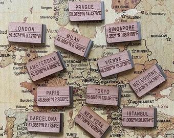 Cities Bookmark - Coordinates - Wanderlust - London - New York - Melbourne - Milan - Tokyo - Paris - Amsterdam - Prague - Vienna - Glasgow