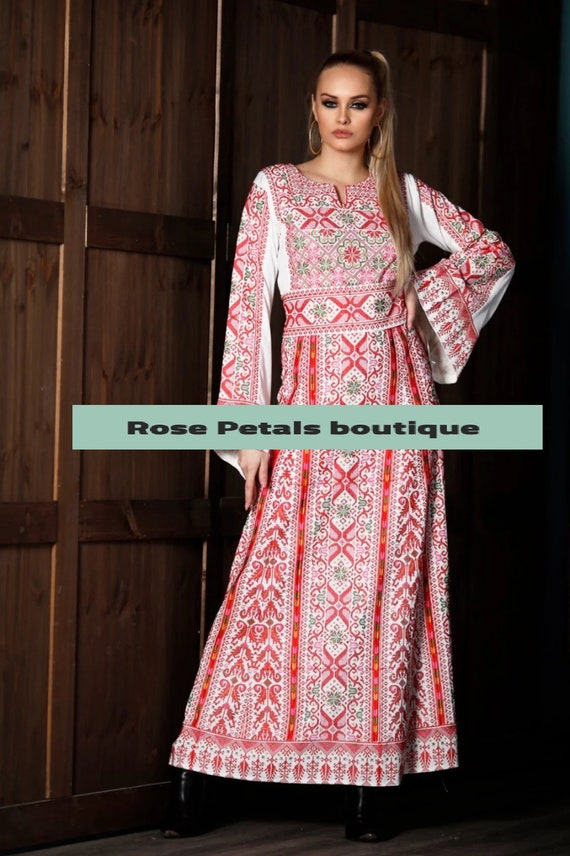 Princess Thobe Embroidered Palestinian Maxi Dress Long Sleeves Kaftan Palestinian Design And Embroidery