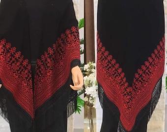 Embroidered Long Scarf Jordanian Palestinian Wrap Long Shawl Scarf Bedouin
