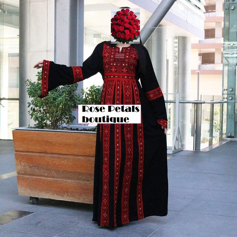 Thobe Embroidered Palestinian Maxi Dress Long Sleeves Kaftan Palestinian Design And Embroidery