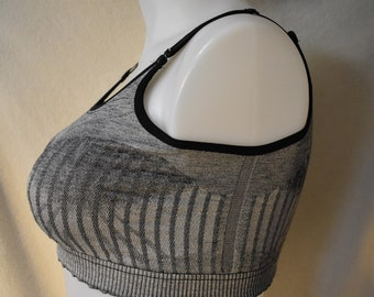 Sports Bra, Regular bra-size -LARGE-the woven one, gray/black dyed cotton with lycra for fitting ease.