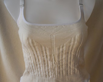 Sports Bra, WAIST-size 1X-the woven one, natural undyed cotton with lycra for fitting ease.